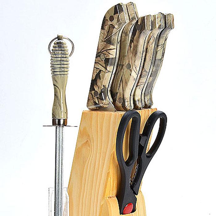 495 Ножи МВ 8пр перламутровая руч. с мусатом(х12)495Набор ножей на деревянной подставке8 предметов (длина лезвия):- нож поварской 15,2 см- нож хлебный 17,8 см- нож для выемки костей 13,3 см- нож универсальный 11,4 см- нож для очистки 8,9 см- ножницы 21,6 см- точилка 19 см- деревянная подставкаМатериал: нержавеющая сталь (2CR13), полипропилен (РР), древесина (сосна)Размер упаковки:14,7х6,5х33,7смвес 1,070 кгНабор ножей изготовлен из высококачественной нержавеющей стали. Удобные ручки, выполненные из пластика, не позволят выскользнуть из вашей руки. Предметы набора компактно размещаются в стильной подставке, которая выполнена из высококачественной древесины с полимерным покрытием. В набор также входит точилка, благодаря которой, ваши ножи всегда будут заточены и резка будет доставлять Вам только удовольствие. Такой набор предоставит вам все необходимые возможности в успешном приготовлении пищи и порадует вас своими результатами.