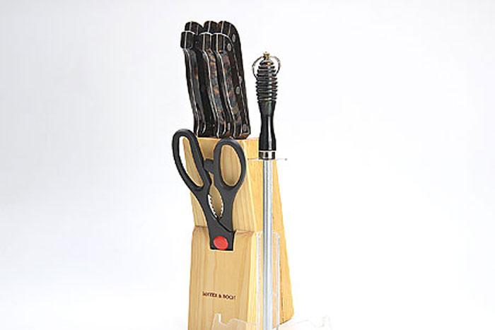 488 Ножи ST 9пр мрам зел (х12)488Набор ножей на деревянной подставке9 предметов (длина лезвия):- нож поварсокой 15,2 см- нож хлебный 17,8 см.- нож для разделки мяса 17,8 см- нож для выемки костей 13,3 см- нож универсальный 11,4 см- нож для очистки 8,9 см- ножницы 21,6 см- точилка 19 см- деревянная подставкаМатериал: нержавеющая сталь (2CR13), полипропилен (РР), древесина (сосна)Размер упаковки: 14,7х8,6х33,7 смВес: 1,250 кг Набор ножей изготовлен из высококачественной нержавеющей стали. Удобные ручки, выполненные из пластика, не позволят выскользнуть из вашей руки. Предметы набора компактно размещаются в стильной подставке, которая выполнена из высококачественной древесины с полимерным покрытием. В набор также входит точилка, благодаря которой, ваши ножи всегда будут заточены и резка будет доставлять Вам только удовольствие. Такой набор предоставит вам все необходимые возможности в успешном приготовлении пищи и порадует вас своими результатами.