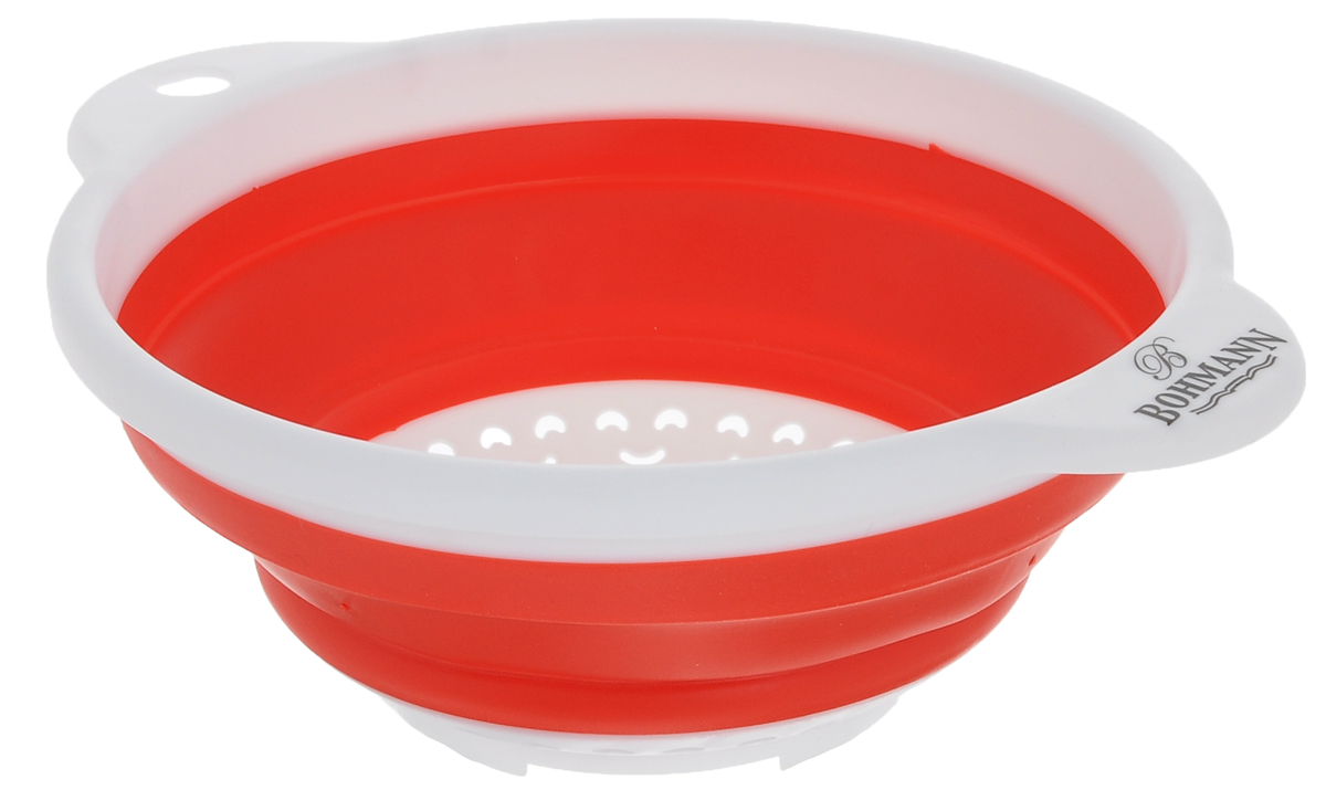 Дуршлаг Bohmann, цвет: белый, красный, диаметр 18 см7906BHNEW_белый, красныйСкладной дуршлаг Bohmann станет полезным приобретением для вашей кухни. Он изготовлен из высококачественного пищевого силикона и пластика. Оснащен 2 ручками. Прекрасно подходит для процеживания, ополаскивания и стекания макарон, овощей, фруктов. Дуршлаг компактно складывается, что делает его удобным для хранения.Внутренний диаметр: 18 см.Размер дуршлага (с учетом ручек): 23,5 см х 19,5 см.Минимальная высота дуршлага: 3,5 см.Максимальная высота дуршлага: 8,5 см.