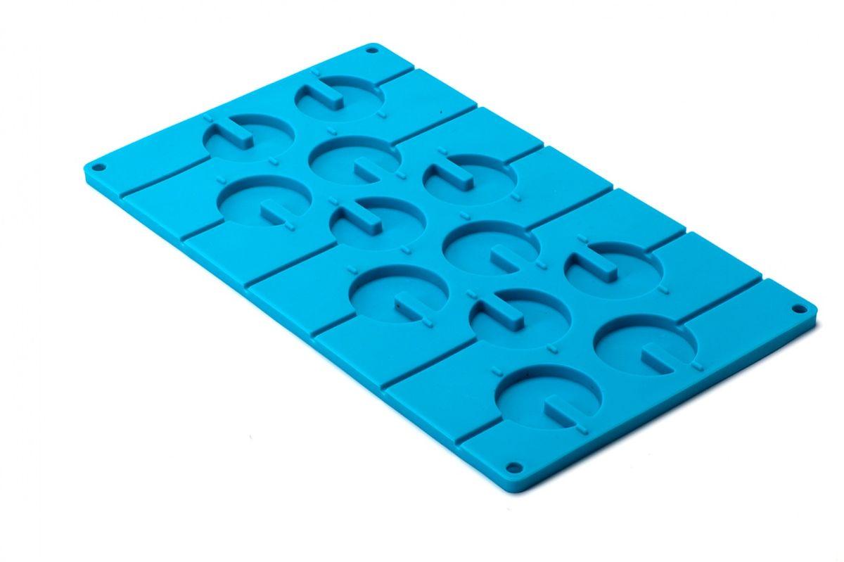 Форма силиконовая 3D Bradex Круг, цвет: голубой, 12 ячеек формы для приготовления леденцов на палочке