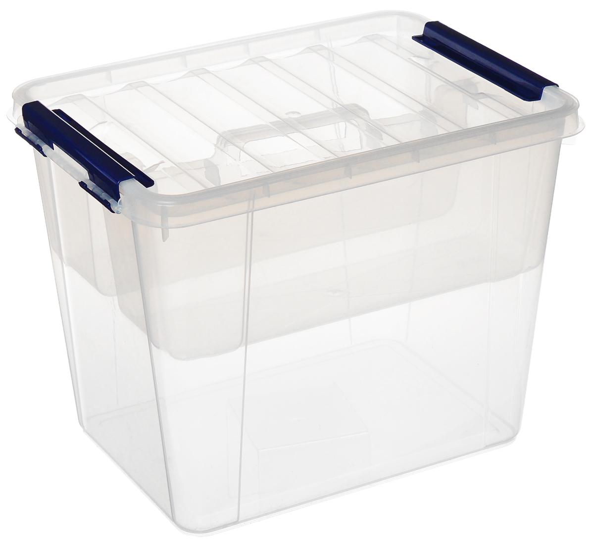 Ящик Полимербыт Профи, с вкладышем, цвет: прозрачный, синий, 25 лС50901_прозрачныйВместительный ящик Полимербыт Профи выполнен из прозрачного пластика и предназначен для хранения различных предметов. Ящик оснащен удобной крышкой с рельефной поверхностью. Внутри ящика имеется съемный вкладыш с двумя глубокими секциями. Контейнер снабжен двумя пластиковыми фиксаторами по бокам, придающими дополнительную надежность закрывания крышки. Вместительный контейнер позволит сохранить различные нужные вещи в порядке, а герметичная крышка предотвратит случайное открывание, защитит содержимое от пыли и грязи. Размер внутренних секций: 37 см х 13 см х 14 см. Объем: 25 л.