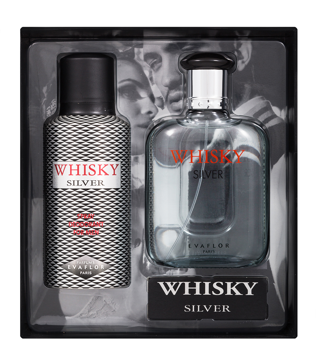 Evaflor Подарочный набор Whisky Silver мужской: Туалетная вода,100 мл , дезодорант, 150 мл42903Подарочный набор для мужчин : туалетная вода 100мл, парфюмированный дезодорант 150 мл.