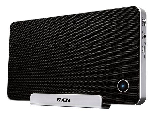 Sven PS-100BL, Black акустическая система 2.0SV-0110PS100BLBKКомпания SVEN представила портативную акустическую систему SVEN PS-100BL. Данная модель – универсальна для большинства мобильных устройств и очень удобна в эксплуатации. Ее можно применять в случае, если вы хотите посмотреть фильм на планшете или послушать музыку со смартфона. В корпус системы встроен микрофон, модель поддерживает громкую связь и может работать в режиме гарнитуры, поэтому ее удобно использовать при многосторонней конференц-связи. В формате индивидуального пользования SVEN PS-100BL также имеет массу плюсов. Основание системы прорезинено и не скользит по лакированному или стеклянному столу. Внутренняя часть откидывающейся подставки имеет резиновую прокладку. Устойчиво удерживает смартфон или планшет в положении монитора. Это важно для тех, кто привык смотреть фильмы, устроившись поудобнее на диване, и не готов полтора часа держать планшет или ноутбук в руках. В модель встроены пассивные излучатели, поэтому система воспроизводит ощутимый глубокий бас, один из лучших по своим характеристикам для сегмента портативной акустики. Система автономна и может работать от встроенного аккумулятора. Она не ограничивает пользователя проводами для коммутации и питания от сети. Передача сигнала от источника звука идет в режиме Bluetooth. При этом акустика имеет стереовход и может быть подключена к ноутбуку, плееру и другим устройствам с помощью кабеля. SVEN PS-100BL очень компактна и по размерам напоминает ежедневник. Ее удобно брать с собой в поездки в обычном саквояже. Во внешнем виде акустика повторяет многие элементы дизайна современных смартфонов. У нее характерные скругленные углы, кнопочки, позволяющие управлять треками и громкостью системы, а также выполненная по периметру корпуса декоративная окантовка под хром. Аккумулятор Li-Ion 1150 mAh