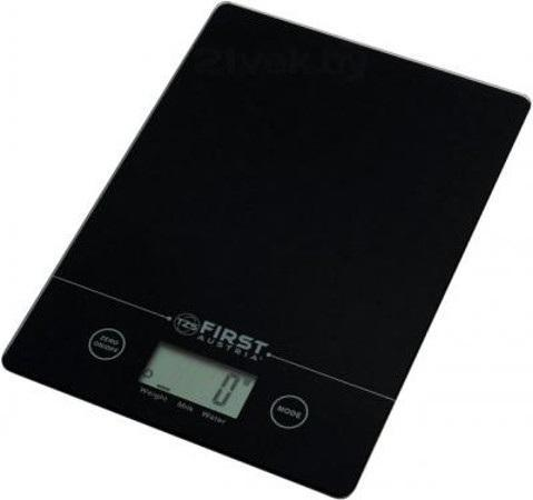 First FA-6400, Black весы кухонныеFA-6400 Black6400 Весы кухонные FIRST, электр., 5 кг, 1 гр, стекл.2 мм, тарокомпенсация, калькулятор объема,Black