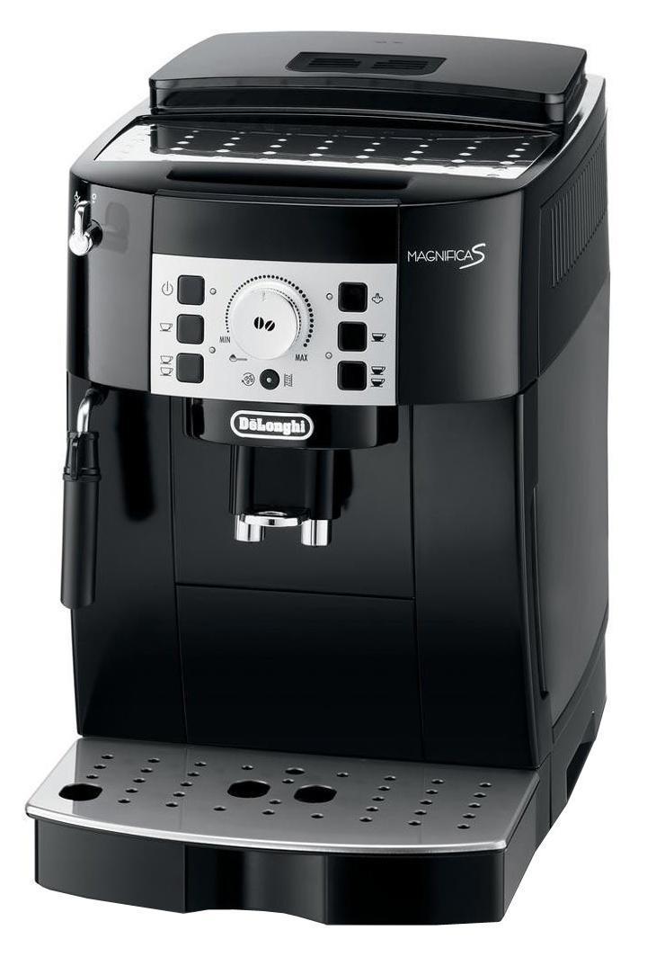 DeLonghi Magnifica ECAM 22.110.B кофемашинаECAM 22 110 BКомпактная автоматическая кофемашина DeLonghi Magnifica S ECAM 22.110 выполнена в элегантном корпусе. Она оснащена множеством удобных автоматических функций, включая автоматическое выключение, удаление накипи и самоочистка.Данная модель позволяет простым нажатием кнопки и поворотом рукоятки приготовить ваш любимый кофе. Кофемашина имеет традиционный ручной капучинатор, с помощью которого вы можете сделать пышную молочную пену для капучино, а также подставку для чашек с подогревом и фильтр очистки воды.Новая панель управленияПозволяет приготовить любой тип кофе простым нажатием кнопки. Простое вращение ручки позволяет увеличить или уменьшить крепость кофе. Нажатием кнопки можно выбрать маленькую или большую порцию.Прибор оснащен контейнером для зерен с крышкой, сохраняющий аромат.Система капучино из нержавеющей стали: смешивает пар, воздух и молоко, позволяя приготовить пышную молочную пену.Съемный компактный блок приготовления вместимостью от 6 до 14 гДолговечная кофемолка с регулировкой до 13 степеней помолаПрограммируемое количество кофе на порциюПрограммируемое количество воды на порциюПредварительное смачиваниеВозможность установки кофейных чашек высотой от 86 до 142 ммКонтейнер для кофе, сохраняющий ароматКонтейнер для жмыха на 14 порций с индикацией наполненностиФильтр для водыОбъем контейнера для зерен: 250 гСъемный поддон для капель с индикатором уровня водыФункция энергосбереженияРежим ожиданияБыстрое приготовление капучино