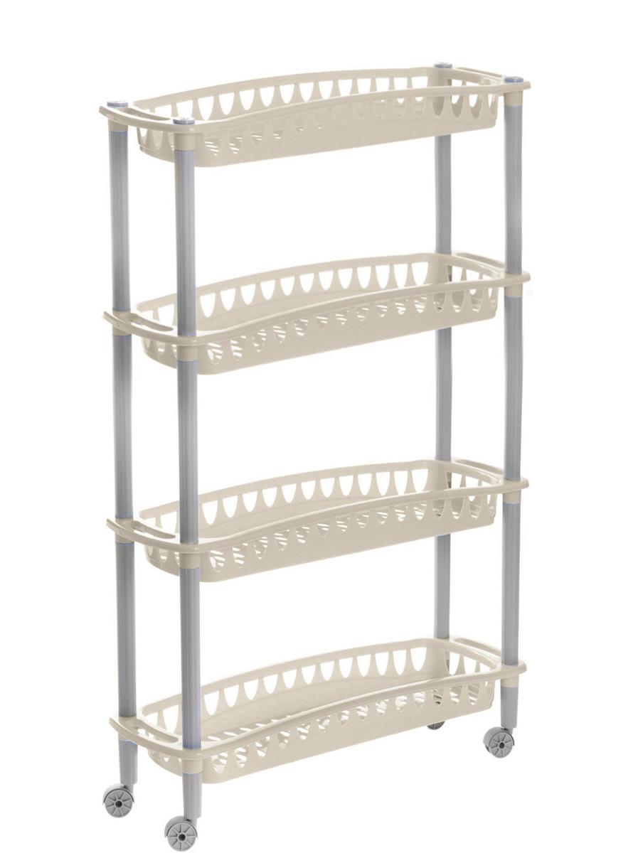 Этажерка Бытпласт Джулия, 4-секционная, на колесиках, цвет: бежевый, 59 х 18 х 73 смС12414_бежевыйЭтажерка Бытпласт Джулия выполнена из высококачественного прочного пластика и предназначена для хранения различных предметов. Изделие имеет 4 полки прямоугольной формы с перфорированными стенками. Благодаря колесикам этажерку можно перемещать в любую сторону без особых усилий. В ванной комнате вы можете использовать этажерку для хранения шампуней, гелей, жидкого мыла, стиральных порошков, полотенец и т.д. Ручной инструмент и детали в вашем гараже всегда будут под рукой. Удобно ставить банки с краской, бутылки с растворителем. В гостиной этажерка позволит удобно хранить под рукой книги, журналы, газеты. С помощью этажерки также легко навести порядок в детской, она позволит удобно и компактно хранить игрушки, письменные принадлежности и учебники. Этажерка - это идеальное решение для любого помещения. Она поможет поддерживать чистоту, компактно организовать пространство и хранить вещи в порядке, а стильный дизайн сделает этажерку ярким украшением интерьера.Размер этажерки (ДхШхВ): 59 см х 18 см х 73 см. Размер полки (ДхШхВ): 59 см х 18 см х 6,5 см.