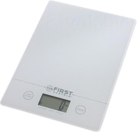 First FA-6400, White весы кухонныеFA-6400 White6400 Весы кухонные FIRST, электр., 5 кг, 1 гр, стекл.2 мм, тарокомпенсация, калькулятор объема,White
