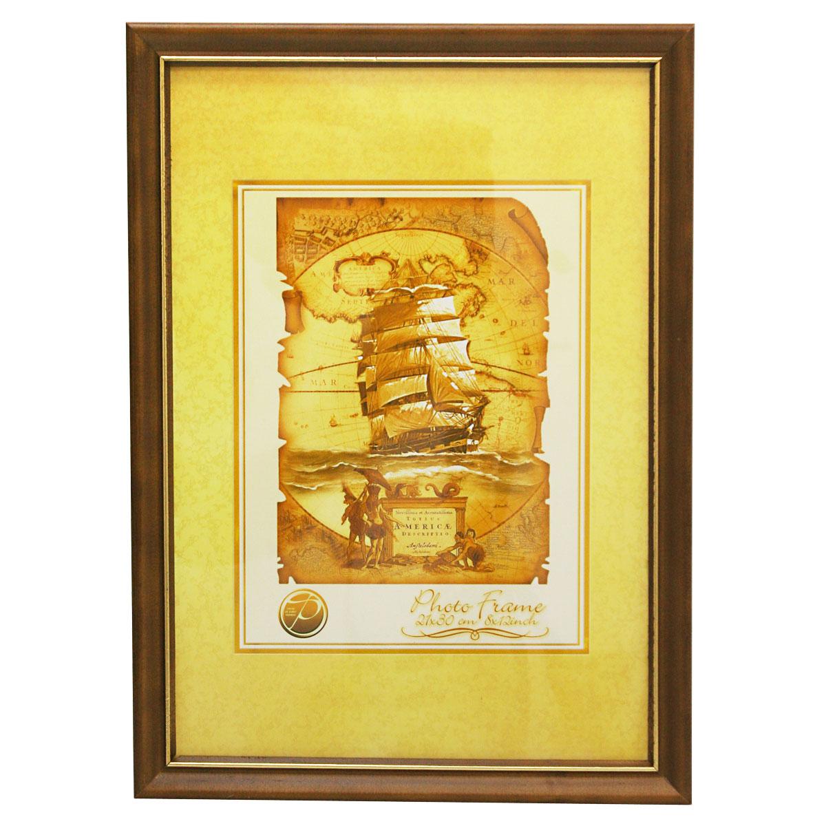 Фоторамка Pioneer Nancy, цвет: темно-коричневый, золотистый, 21 х 30 см фоторамка pioneer viola 21 х 30 см