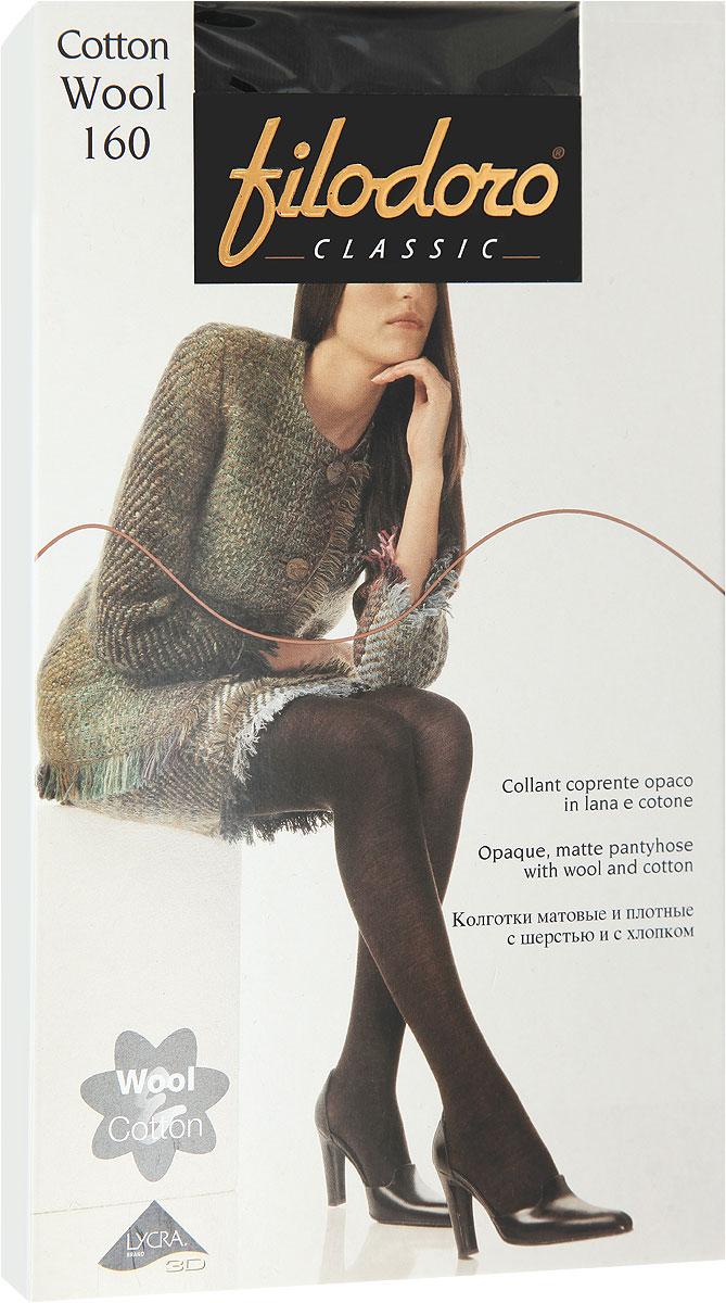 Колготки женские Filodoro Classic Cotton Wool 160, цвет: Nero (черный). C113562CL. Размер 4 (46/48) filodoro classic filodoro classic cotton warm grigio melange
