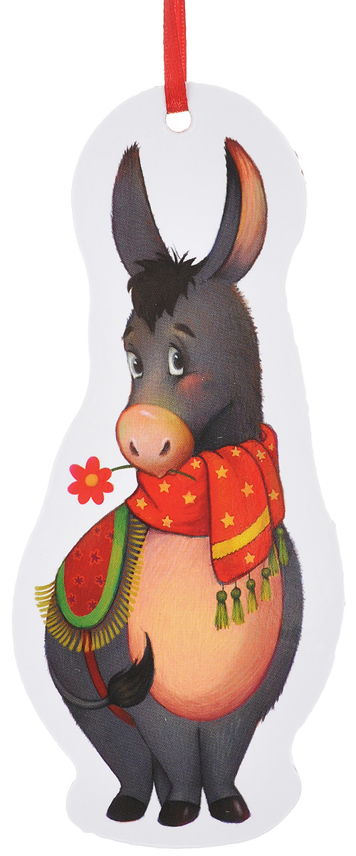 Игрушка-подвеска новогодняя Darinchi Ослик, 13 см34313Новогодняя игрушка-подвеска Darinchi Ослик выполнена из плотного картона и оформлена изображением осла в шарфике и накидке. Изделие не имеет острых углов.Благодаря текстильной ленточке игрушку можно повесить на елку или в любое другое место. Такая игрушка станет прекрасным украшением интерьера вашего дома в новогодние праздники.