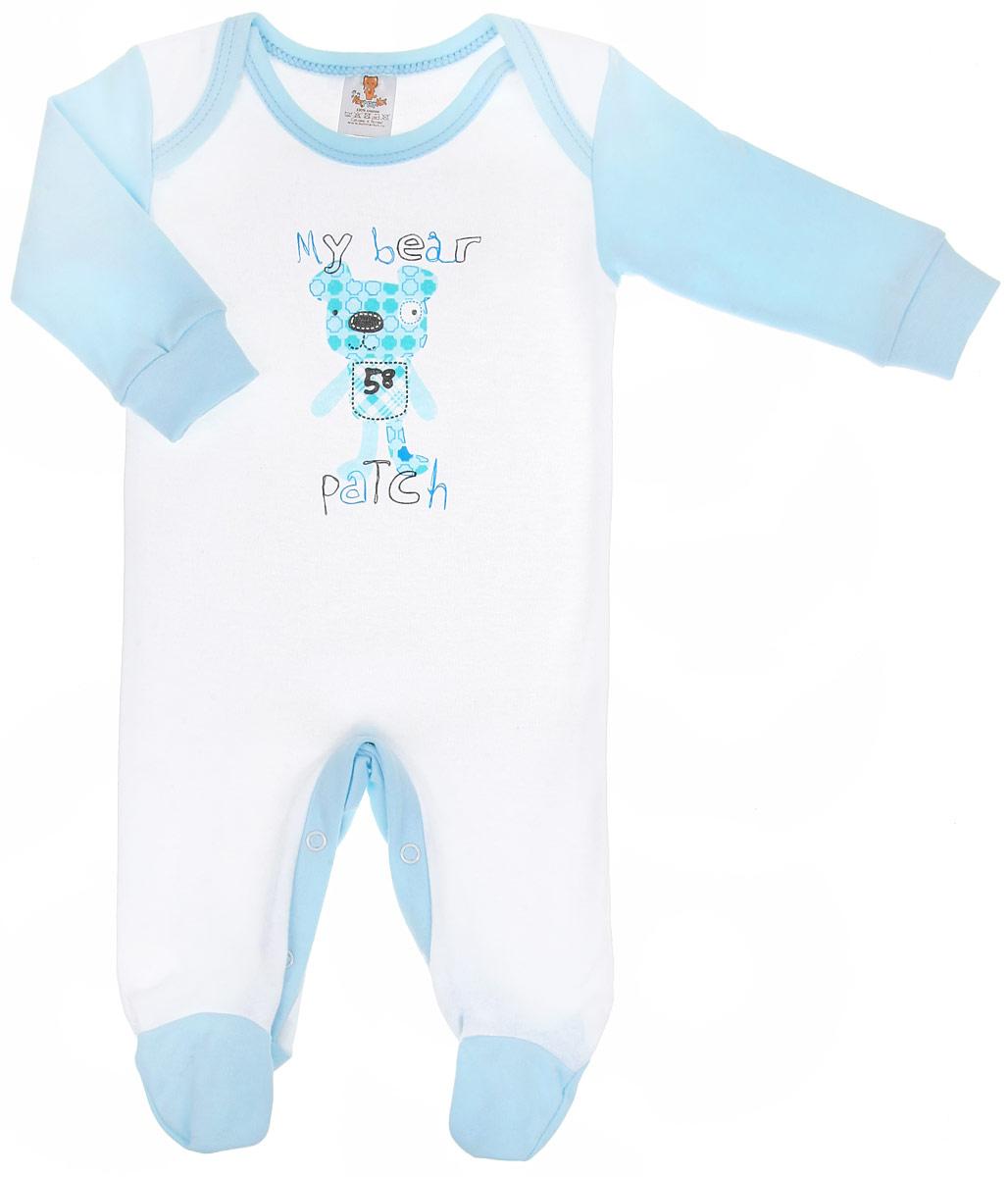 Комбинезон для мальчика КотМарКот Собачка, цвет: белый, голубой. 3656. Размер 62, 1-3 месяца3656Детский комбинезон для мальчика КотМарКот Собачка - очень удобный и практичный вид одежды для малышей. Комбинезон выполнен из натурального хлопка - интерлока, благодаря чему он необычайно мягкий и приятный на ощупь, не раздражает нежную кожу ребенка, хорошо вентилируется, и не препятствует его движениям. Швы выполнены наружу. Комбинезон с длинными рукавами и закрытыми ножками имеет удобные запахи на плечах и застежки-кнопки на ластовице, что помогает легко переодеть младенца или сменить подгузник. Рукава дополнены широкими трикотажными манжетами, которые мягко обхватывают запястья.Комбинезон оформлен принтом с изображением забавного песика, а также принтовыми надписями My Bear Patch. С этим детским комбинезоном спинка и ножки вашего малыша всегда будут в тепле, он идеален для использования днем и незаменим ночью. Комбинезон полностью соответствует особенностям жизни младенца в ранний период, не стесняя и не ограничивая его в движениях!