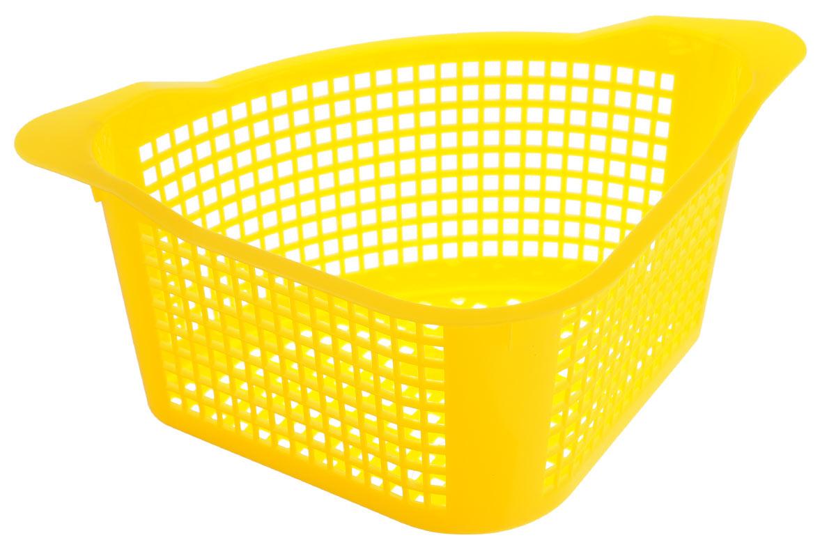 Корзинка универсальная Econova, угловая, цвет: желтый, 29 х 18 х 12 см корзинка универсальная econova с ручками цвет красный 19 х 18 5 х 23 см