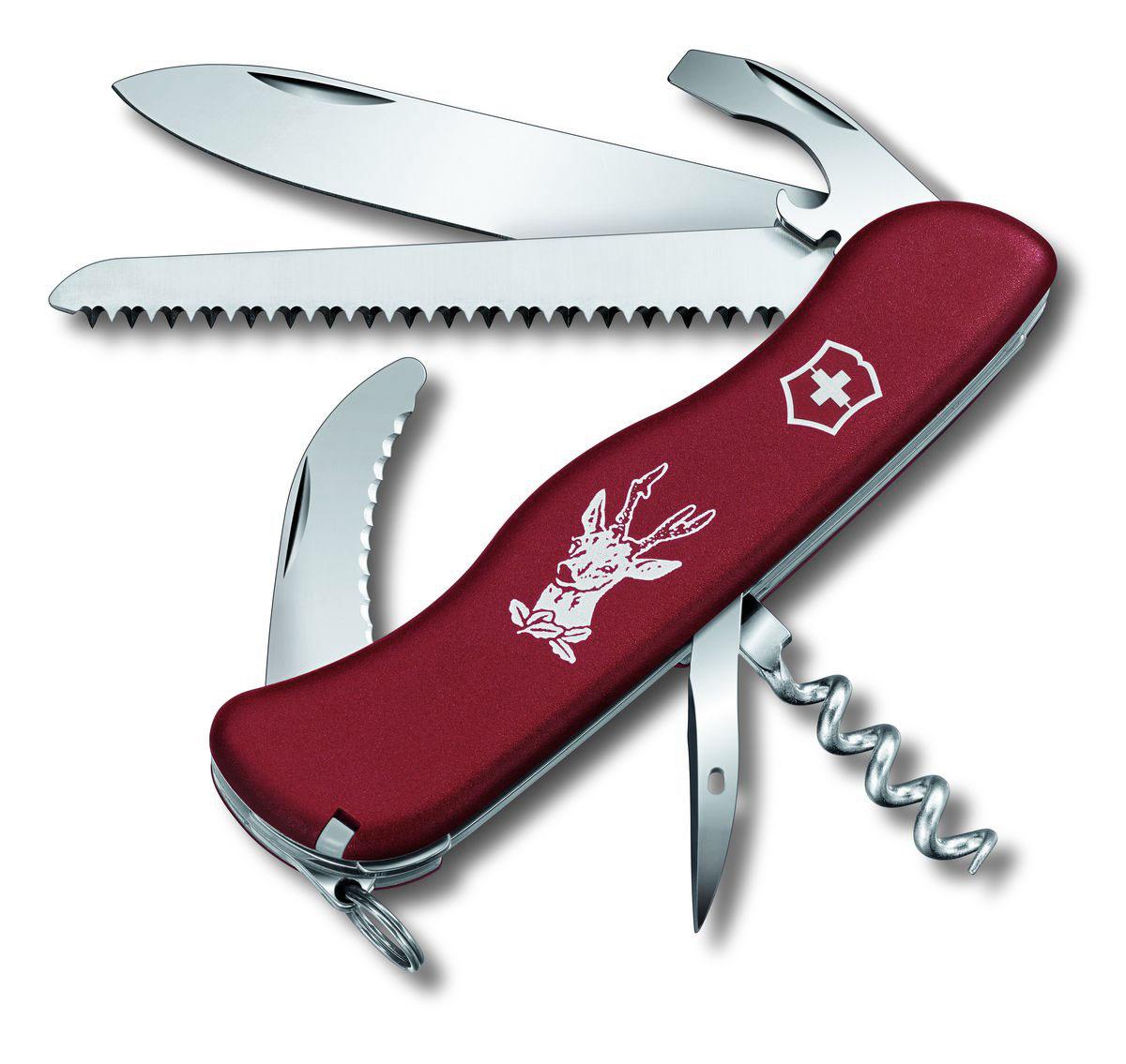 Нож перочинный Victorinox Hunter, цвет: красный, 12 функций, 11,1 см0.8873Лезвие перочинного складного ножа Victorinox Hunter изготовлено из высококачественной нержавеющей стали. Ручка, выполненная из прочного пластика, обеспечивает надежный и удобный хват.Хорошее качество, надежный долговечный материал и эргономичная рукоятка - что может быть удобнее на природе или на пикнике!Функции ножа:Фиксирующееся лезвие.Штопор.Пила по дереву.Лезвие для разделки туш.Универсальный инструмент с открывалкой для бутылок.Консервный нож.Отвертка.Инструмент для снятия изоляции.Шило, кернер.Кольцо для ключей.Пинцет.Зубочистка.Длина ножа в сложенном виде: 11,1 см.Длина ножа в разложенном виде: 19,5 см.