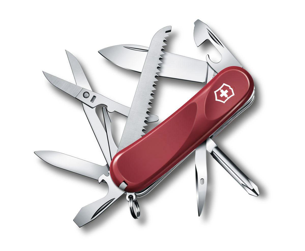 Нож перочинный Victorinox Evolution 18, цвет: красный, 15 функций, 8,5 см2.4913.EЛезвие перочинного складного ножа Victorinox Evolution 18 изготовлено из высококачественной нержавеющей стали. Ручка, выполненная из прочного пластика, обеспечивает надежный и удобный хват.Хорошее качество, надежный долговечный материал и эргономичная рукоятка - что может быть удобнее на природе или на пикнике!Функции ножа:Лезвие.Пилка для ногтей с инструментом по уходу за ногтями.Ножницы с серрейторной заточкой.Консервный нож с малой отверткой.Открывалка для бутылок с фиксирующейся отверткой.Инструментом для снятия изоляции.Крестовая отвертка.Шило, кернер.Кольцо для ключей.Пинцет.Зубочистка.Длина ножа в сложенном виде: 8,5 см.Длина ножа в разложенном виде: 15 см.
