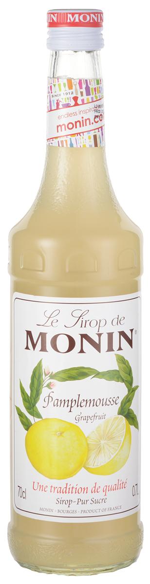 Monin Грейпфрут сироп, 0,7 лSMONN0-000087Грейпфрут - плод субтропического цитрусового дерева. Эти вечнозеленые деревья производят фрукты с желто-оранжевой кожей, цвет мякоти которых варьируется от белого до розового или красного в зависимости от его сорта. На вкус грейпфрут в зависимости от сорта колеблется от очень кислого или даже горького, до сладкого и терпкого. Сироп Monin Грейпфрут имеет ароматный кислый вкус.ВКУССильный запах эфирных масел грейпфрута и цитрусовых. Освежающий, сладкий и кислый вкус грейпфрута.ПРИМЕНЕНИЕГазированные напитки, коктейли, вина, чай, коктейли.Сиропы Monin выпускает одноименная французская марка, которая известна как лидирующий производитель алкогольных и безалкогольных сиропов в мире. В 1912 году во французском городке Бурже девятнадцатилетний предприниматель Джордж Монин основал собственную компанию, которая специализировалась на производстве вин, ликеров и сиропов. Место для завода было выбрано не случайно: город Бурже находился в непосредственной близости от крупных сельскохозяйственных районов - главных поставщиков свежих ягод и фруктов. Производство сиропов стало ключевым направлением деятельности компании Monin только в 1945 году, когда пост главы предприятия занял потомок основателя - Пол Монин. Именно под его руководством ассортимент марки пополнился разнообразными сиропами из натуральных ингредиентов, которые молниеносно заслужили блестящую репутацию в кругу поклонников кофейных напитков и коктейлей. По сей день высокое качество остается базовым принципом деятельности французской марки. Сиропы Монин создаются исключительно из натуральных ингредиентов по уникальным технологиям, позволяющим сохранять в готовом продукте все полезные свойства природного сырья.Эксперты всего мира сходятся во мнении, что сиропы Monin - это законодатели мод в миксологии. Ассортимент французской марки на сегодняшний день является самым широким и насчитывает полторы сотни уникальных вкусовых решений. В каталоге компании можно найти как классические 