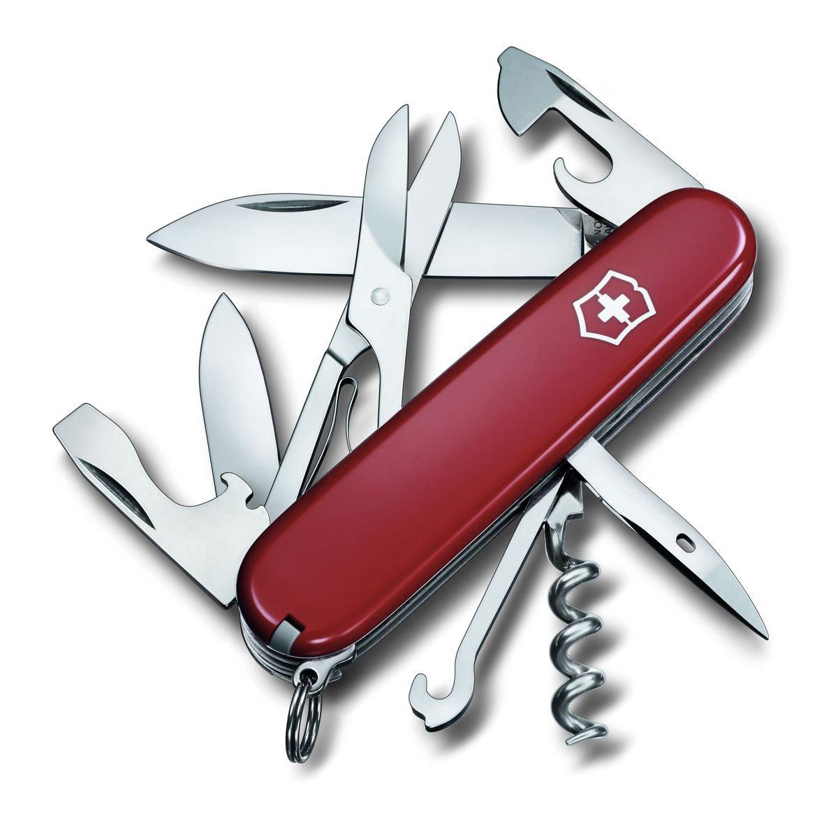 Нож перочинный Victorinox Climber, цвет: красный, 14 функций, 9,1 см1.3703Лезвие перочинного складного ножа Victorinox Climber изготовлено из высококачественной нержавеющей стали. Ручка, выполненная из прочного пластика, обеспечивает надежный и удобный хват.Хорошее качество, надежный долговечный материал и эргономичная рукоятка - что может быть удобнее на природе или на пикнике!Функции ножа:Большое лезвие.Малое лезвие.Штопор.Консервный нож с малой отверткой.Открывалка для бутылок с отверткой.Инструмент для снятия изоляции.Шило, кернер.Кольцо для ключей.Пинцет.Зубочистка.Ножницы.Многофункциональный крючокДлина ножа в сложенном виде: 9,1 см.Длина ножа в разложенном виде: 16 см.Длина большого лезвия: 7 см.Длина малого лезвия: 4 см.