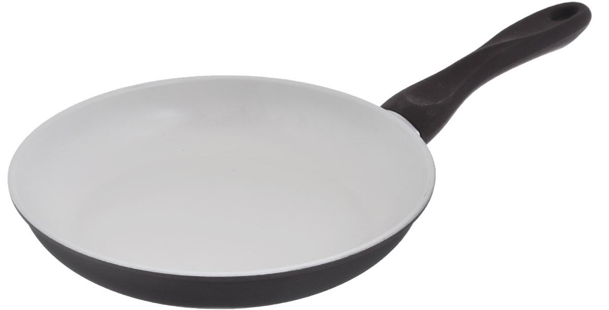 Сковорода Mayer & Boch, с керамическим покрытием, цвет: коричневый, молочный. Диаметр 26 см22229_коричневыйСковорода Mayer & Boch изготовлена из углеродистой стали с высококачественным керамическим покрытием. Керамика не содержит вредных примесей ПФОК, что способствует здоровому и экологичному приготовлению пищи. Кроме того, с таким покрытием пища не пригорает и не прилипает к стенкам, поэтому можно готовить с минимальным добавлением масла и жиров. Гладкая, идеально ровная поверхность сковороды легко чистится, ее можно мыть в воде руками или вытирать полотенцем.Эргономичная ручка специального дизайна выполнена из бакелита с силиконовым покрытием.Сковорода подходит для использования на газовых и электрических плитах. Можно мыть в посудомоечной машине.Диаметр по верхнему краю: 26 см.Высота стенки: 4,5 см.Толщина стенки: 1,2 мм.Толщина дна: 2 мм.Длина ручки: 19 см.