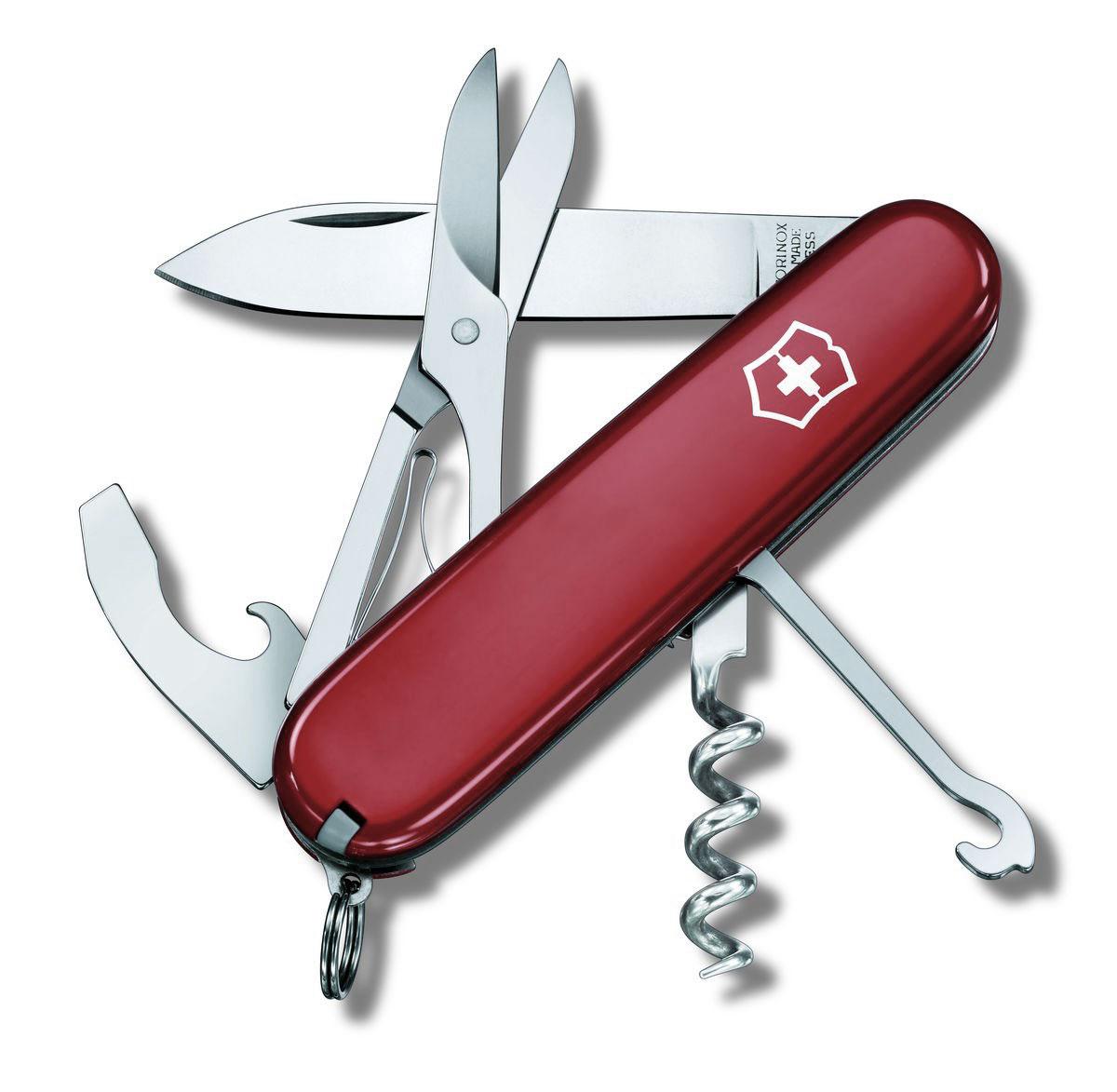 Нож перочинный Victorinox Compact, цвет: красный, 15 функций, 9,1 см1.3405Лезвие перочинного складного ножа Victorinox Compact изготовлено из высококачественной нержавеющей стали. Ручка, выполненная из прочного пластика, обеспечивает надежный и удобный хват.Хорошее качество, надежный долговечный материал и эргономичная рукоятка - что может быть удобнее на природе или на пикнике!Функции ножа:Большое лезвие.Универсальный инструмент с открывалкой для бутылок, консервным ножом, отверткой и инструментом для снятия изоляции.Штопор.Ножницы.Многофункциональный крючок с пилкой для ногтей.Кольцо для ключей.Пинцет.Зубочистка.Шариковая ручка.Булавка из нержавеющей стали.Мини-отвертка.Длина ножа в сложенном виде: 9,1 см.Длина ножа в разложенном виде: 16 см.