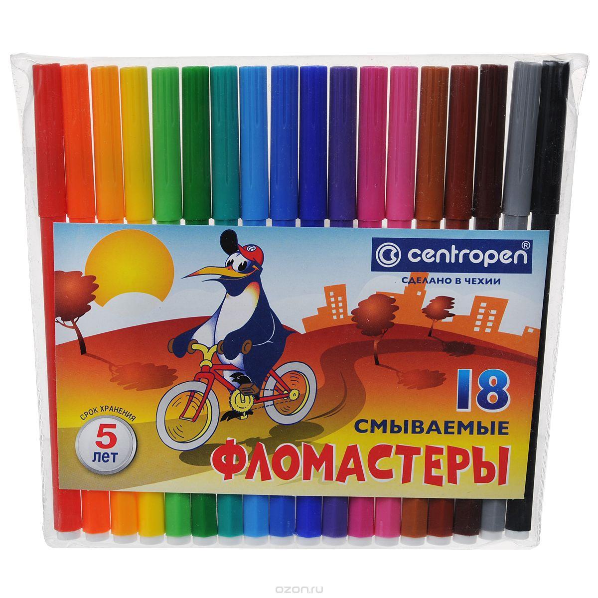 Centropen Набор фломастеров Пингвины 18 цветов7790/18-86Набор Пингвины состоит из 18 разноцветных смываемых фломастеров, которые отлично подойдут и для школьных занятий, и просто для рисования.Фломастеры обладают великолепными яркими и выразительными цветами. Корпус фломастеров изготовлен из полипропилена, который предохраняет чернила от преждевременного высыхания и гарантирует длительный срок службы. Также фломастеры снабжены вентилирующимися колпачками.
