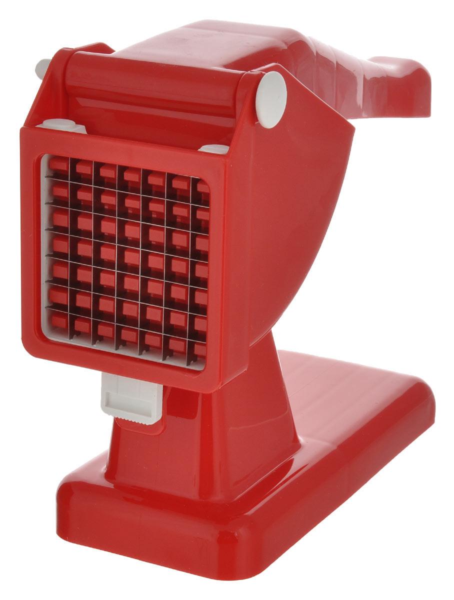 """Картофелерезка Rigamonti """"Mister Chips"""" изготовленная из пластика и стали,  используется для нарезания картофеля или других овощей, фруктов брусками или  кубиками. Просто положите очищенную картофелину в специальный отсек, надавите  ручку и вы получите быстро и качественно нарезанный продукт.   Общий размер картофелерезки: 28 см х 8,5 см х 20,5 см. Размер ячейки решетки: 1 см х 1 см. Материал: пластик, сталь."""