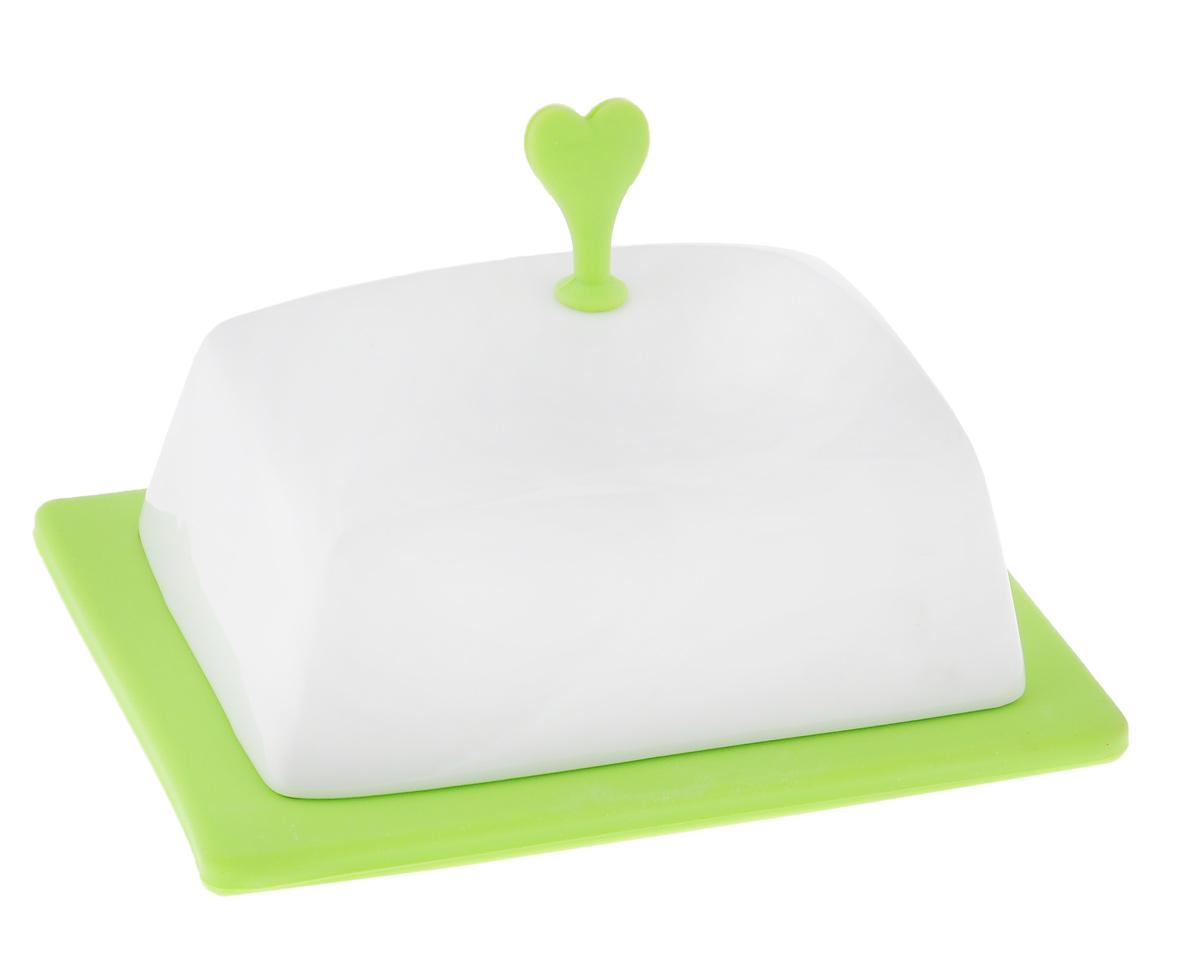 Масленка Bohmann, цвет: белый, салатовый2021BHМасленка Bohmann, выполненная из высококачественной фарфора,предназначена для красивойсервировки и хранения масла. Она состоит из подноса и крышки с силиконовой ручкой. Благодаряспециальным выемкам крышкаплотно устанавливается на поднос. С масленкой Bohmann ваше масло всегда будет свежим. Размер подноса: 15,5 см х 12 см х 1,5 см. Размер крышки: 13 см х 10 см х 9,5 см.