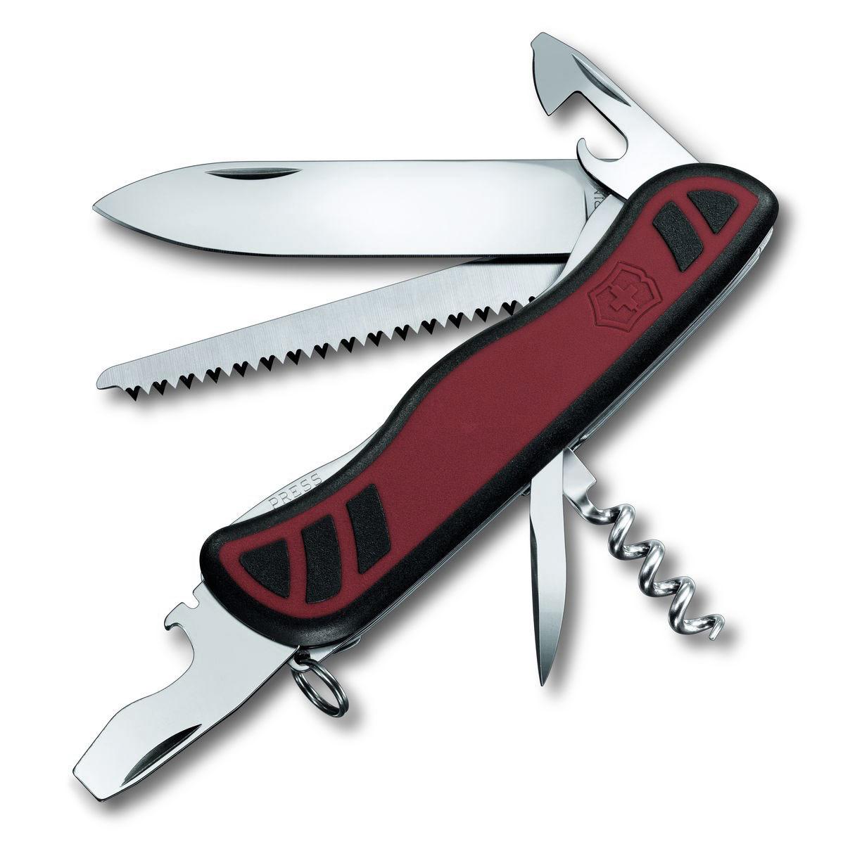 Нож перочинный Victorinox Forester, цвет: красный, черный, 10 функций, 11,1 см0.8361.CЛезвие перочинного складного ножа Victorinox Forester изготовлено из высококачественной нержавеющей стали. Ручка, выполненная из прочного пластика с резиновыми вставками, обеспечивает надежный и удобный хват.Хорошее качество, надежный долговечный материал и эргономичная рукоятка - что может быть удобнее на природе или на пикнике!Функции ножа:Фиксирующееся лезвие.Штопор.Консервный нож с малой отверткой.Фиксирующаяся открывалка для бутылок с отверткой и инструментом для снятия изоляции.Шило, кернер.Кольцо для ключей.Пила по дереву.Длина ножа в сложенном виде: 11,1 см.Длина ножа в разложенном виде: 19,5 см.