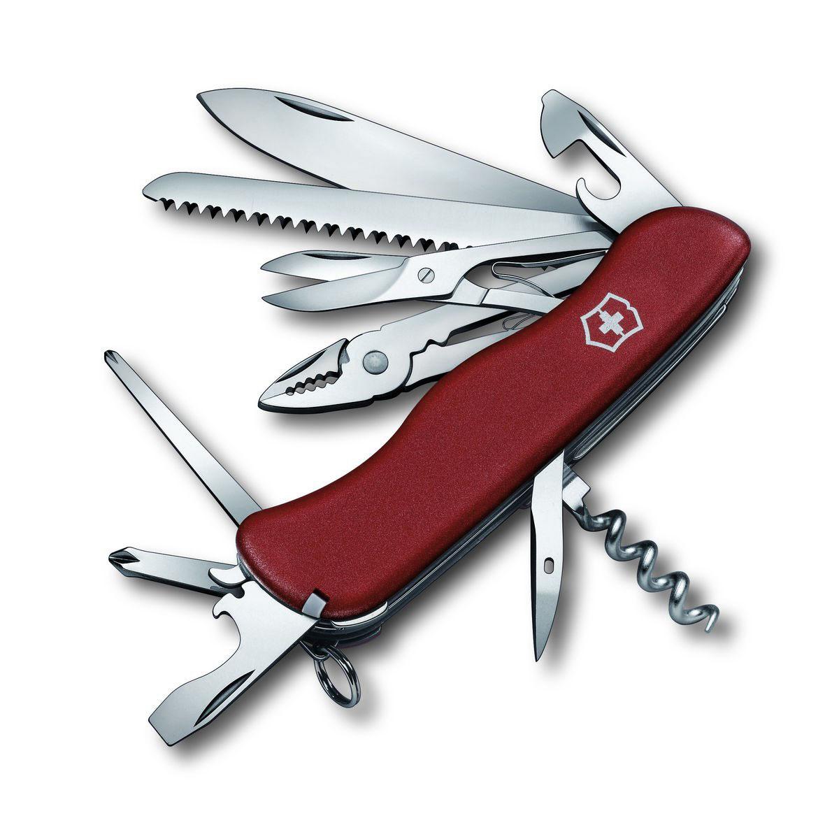Нож перочинный Victorinox Hercules, цвет: красный, 18 функций, 11,1 см0.9043Лезвие перочинного складного ножа Victorinox Hercules изготовлено из высококачественной нержавеющей стали. Ручка, выполненная из прочного пластика, обеспечивает надежный и удобный хват.Хорошее качество, надежный долговечный материал и эргономичная рукоятка - что может быть удобнее на природе или на пикнике!Функции ножа:Фиксирующееся лезвие.Штопор.Консервный нож с малой отверткой.Открывалка для бутылок с отверткой и инструментом для снятия изоляции.Шило, кернер.Кольцо для ключей.Пинцет.Зубочистка.Пила по дереву.Ножницы.Длинная крестовая отвертка.Плоскогубцы с кусачками для проводов и инструментом для обжима проводов.Крестовая отвертка.Длина ножа в сложенном виде: 11,1 см.Длина ножа в разложенном виде: 19,5 см.