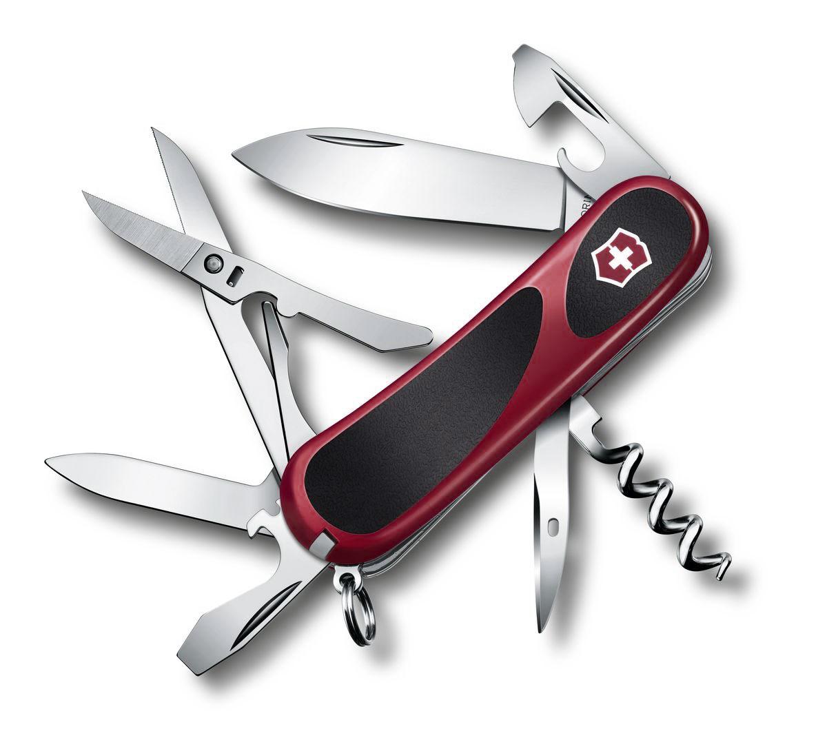 Нож перочинный Victorinox Evolution S14, цвет: красный, черный, 14 функций, 8,5 см2.3903.CЛезвие перочинного складного ножа Victorinox Evolution S14 изготовлено из высококачественной нержавеющей стали. Ручка, выполненная из прочного пластика с резиновыми вставками, обеспечивает надежный и удобный хват.Хорошее качество, надежный долговечный материал и эргономичная рукоятка - что может быть удобнее на природе или на пикнике!Функции ножа:Лезвие.Пилка для ногтей с инструментом по уходу за ногтями.Ножницы с серрейторной заточкой.Консервный нож с малой отверткой.Открывалка для бутылок с фиксирующейся отверткой и инструментом для снятия изоляции.Штопор.Шило, кернер.Кольцо для ключей.Пинцет.Зубочистка.Длина ножа в сложенном виде: 8,5 см.Длина ножа в разложенном виде: 15 см.