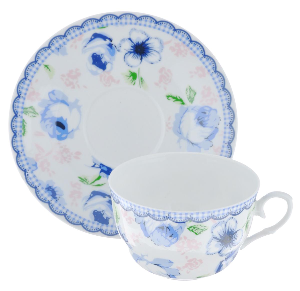 Набор чайный LarangE Кантри, цвет: синий, белый, 2 предмета стоимость