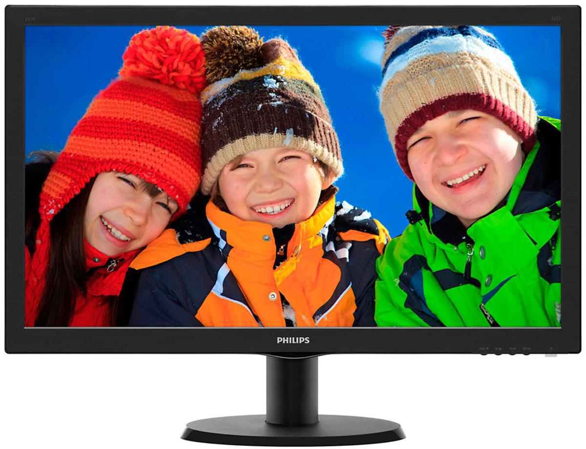 Philips 243V5LHAB (00/01), Black монитор243V5LHAB (00/01)Оцените яркое реалистичное изображение на светодиодном дисплее Philips с входом HDMI и стерео АС. Выборочевиден!SmartContrast: для насыщенных оттенков черного:SmartContrast — технология Philips, которая анализирует отображаемый контент и автоматически настраиваетцвета и интенсивность подсветки для динамичного улучшения контраста. Тем самым обеспечиваетсяоптимальный уровень контрастности и наилучшее качество цифрового изображения, а также большаянасыщенность темных оттенков, что особенно важно во время игр. При выборе экономичного режима уровеньконтрастности регулируется, а подсветка настраивается для оптимальной работы со стандартными офиснымиприложениями и экономии электроэнергии.Дисплей 16:9 Full HD для четкого и детального изображения:Качество изображения играет важную роль. Обычные дисплеи обеспечивают неплохое качество изображения,однако не на самом высоком уровне. Этот дисплей оснащен улучшенным разрешением Full HD 1920 x 1080: четкаядетализация в сочетании с высокой яркостью, удивительной контрастностью и реалистичной цветопередачей— естественное изображение словно оживает на глазах.HDMI-ready для развлечений в формате Full HD:Устройство HDMI Ready обладает всем необходимым аппаратным обеспечением для работы черезмультимедийный интерфейс высокой четкости (HDMI). С помощью одного HDMI-кабеля цифровой видео- иаудиоконтент высокого качества передается с ПК или с любого количества аудио- и видеоисточников (включаятелеприставки, проигрыватели DVD, ресиверы А/В и видеокамеры).Светодиодная LED-технология для ярких цветов:Белые светодиоды — это устройства, достигающие предельной яркости за меньшее время. Светодиоды несодержат ртути, что обеспечивает экологичный производственный процесс и утилизацию. Светодиодыпозволяют лучше регулировать яркость подсветки ЖК-дисплея, обеспечивая превосходный коэффициентконтрастности. Кроме того, их отличает великолепная цветопередача, благодаря одинаковой яркости по всемуэкрану