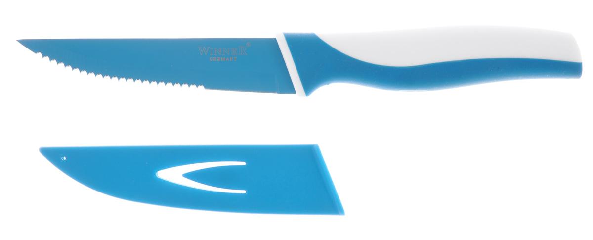 Нож филейный Winner, цвет: бирюзовый, белый, длина лезвия 10,7 см. WR-7214WR-7214_бирюзовый, белыйФилейный нож Winner выполнен из высококачественной нержавеющей стали с цветным полимерным покрытием Xynflon, предотвращающим прилипание продуктов. Очень удобная и эргономичная ручка выполнена из прорезиненного пластика с антибактериальным покрытием Zeomic.Нож великолепно подходит для нарезки мясного и рыбного филе, незаменим для приготовления японских рыбных блюд.Нож помогает поддерживать идеальную гигиену на кухне. Zeomic обеспечивает постоянную противомикробную защиту, позволят сохранить нож в чистоте в течение длительного периода времени после мытья, подавляет бактерии, которые способствуют появлению загрязнения и неприятного запаха, гнили и плесени в течение всего времени использования изделия. Филейный нож Winner предоставит вам все необходимые возможности в успешном приготовлении пищи и порадует вас своими результатами.К ножу прилагаются пластиковые ножны. Общая длина ножа: 21,4 см. Длина лезвия: 10,7 см. Толщина лезвия: 1,2 мм.