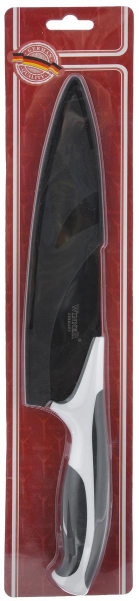 Нож поварской Winner, с чехлом, цвет: черный, белый, длина лезвия 18,2 см. WR-7224WR-7224_черный, белыйПоварской нож Winner выполнен из высококачественной нержавеющей стали с цветным полимерным покрытием Xynflon, предотвращающим прилипание продуктов. Очень удобная и эргономичная ручка выполнена из прорезиненного пластика. Нож предназначен для нарезки мяса, рыбы, овощей и фруктов. Нож Winner держит заводскую заточку в несколько раз дольше, чем обычные стальные ножи. Продукты, которые вы нарезаете таким ножом, не прилипают к лезвию ножа, не вступают в химическую реакцию, не окисляются и не намагничиваются. Нож очень удобен в эксплуатации, не царапается, легко моется.Поварской нож Winner предоставит вам все необходимые возможности в успешном приготовлении пищи и порадует вас своими результатами. К ножу прилагаются пластиковые ножны. Общая длина ножа: 31,2 см. Толщина лезвия: 1,8 мм.