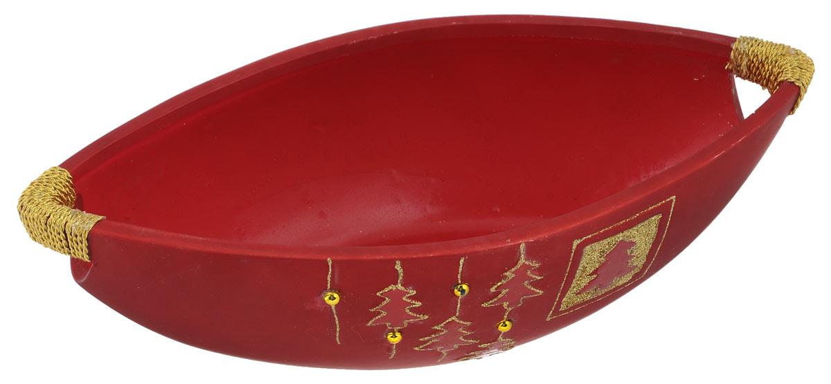 Сухарница House & Holder, цвет: красный, серебристый, 30 см х 14,5 см х 8,5 смDHS37807-1Сухарница House & Holder, выполненная из высококачественной керамики, оформлена объемными изображениями в виде елочек, бусин и декорирована блестками. Ручки сухарницы украшены текстилем. Изделие предназначено для красивой сервировки сухариков, конфет и другого угощения.Сухарница House & Holder доставит истинное удовольствие ценителям прекрасного. Яркий дизайн, несомненно придется вам по вкусу.