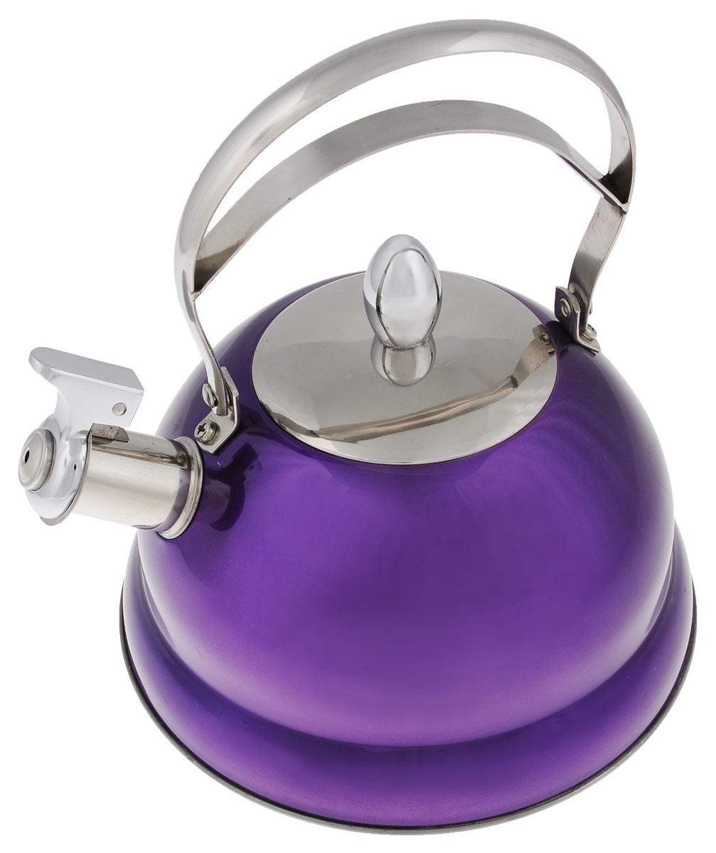 Чайник Bekker De Luxe, со свистком, цвет: фиолетовый, 2,7 лBK-S459_фиолетовыйЧайник Bekker De Luxe изготовлен из высококачественной нержавеющей стали 18/10 с цветным эмалевым покрытием. Капсулированное дно распределяет тепло по всей поверхности, что позволяет чайнику быстро закипать. Ручка подвижная. Носик оснащен откидным свистком, который подскажет, когда вода закипела. Свисток открывается и закрывается рычагом на носике. Подходит для всех типов плит, включая индукционные. Можно мыть в посудомоечной машине.Диаметр (по верхнему краю): 10 см. Диаметр основания: 22 см. Высота чайника (без учета ручки): 11,5 см. Высота чайника (с учетом ручки): 25 см.