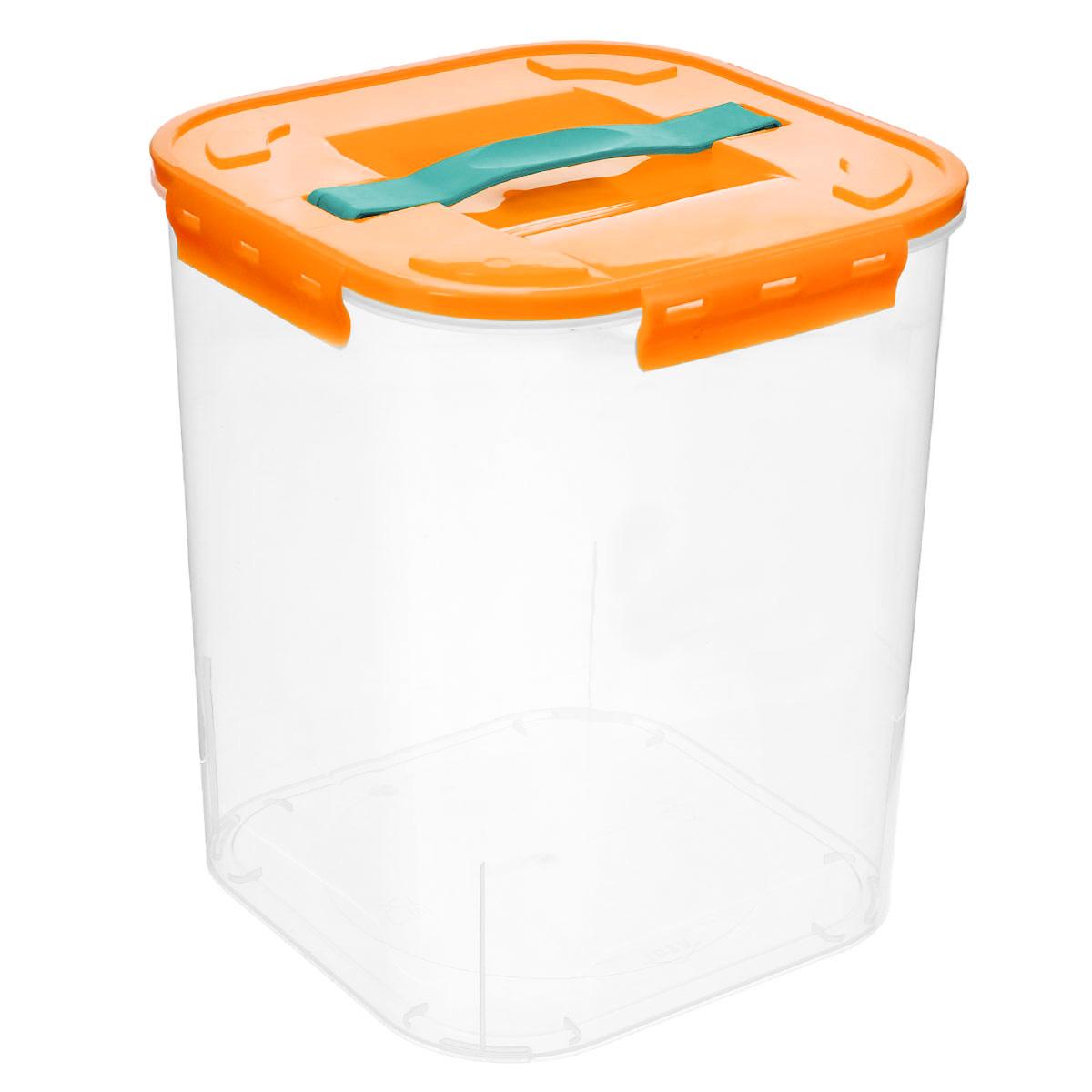 Контейнер для хранения Idea, цвет: оранжевый, прозрачный, 10 л