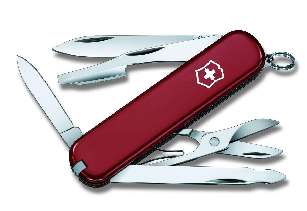 Нож перочинный Victorinox Executive, цвет: красный, 10 функций, 7,4 см0.6603Лезвие перочинного складного ножа Victorinox Executive изготовлено из высококачественной нержавеющей стали. Ручка, выполненная из прочного пластика, обеспечивает надежный и удобный хват.Хорошее качество, надежный долговечный материал и эргономичная рукоятка - что может быть удобнее на природе или на пикнике!Функции ножа:Большое лезвие.Малое лезвие.Пилка для ногтей с инструментом по уходу за ногтями.Ножницы.Нож для чистки апельсина с отверткой.Кольцо для ключей.Пинцет.Зубочистка.Длина ножа в сложенном виде: 7,4 см.Длина ножа в разложенном виде: 12,7 см.Длина большого лезвия: 5,4 см.Длина малого лезвия: 3,5 см.