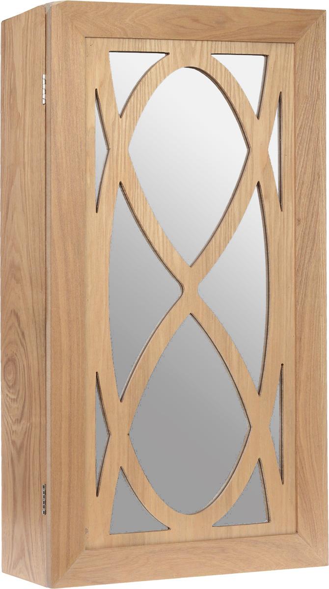 Шкатулка для ювелирных украшений, настенная, цвет: светло-коричневыйFH-JC0410Настенная шкатулка для ювелирных украшений поможет стильно и аккуратно хранить ваши украшения. Шкатулка выполнена из натурального дерева. Изделие размещается на стене с помощью шурупов (не входят в комплект). На двери расположено большое зеркало. Шкатулка имеет одно основное отделение с Внутри расположено 12 металлических крючков, 1 полочка, 2 планки для хранения серег и валики для колец. Дверца закрывается на магниты.Стильная настенная шкатулка придется по вкусу всем любительницам изысканных вещей, она прекрасно подойдет для туалетного столика и будет радовать свою обладательницу.