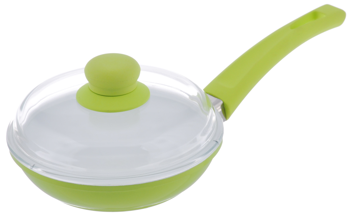 Сковорода BartonSteel с крышкой, с керамическим покрытием, цвет: зеленый. Диаметр 18 см7018BS/NEWСковорода BartonSteel изготовлена из высококачественного алюминия. Внутреннее керамическое покрытие абсолютно безопасно для здоровья человека и окружающей среды. Кроме того, с таким покрытием пища не пригорает и не прилипает к стенкам. Готовить можно с минимальным количеством подсолнечного масла. Сковорода быстро разогревается, распределяя тепло по всей поверхности, что позволяет готовить в энергосберегающем режиме, значительно сокращая время, проведенное у плиты. Сковорода оснащена удобной ручкой, выполненной из бакелита с силиконовым покрытием. Такая ручка не нагревается в процессе готовки и обеспечивает надежный хват. Крышка изготовлена из жаропрочного стекла. Благодаря такой крышке можно следить за приготовлением пищи без потери тепла. Подходит для всех типов плит, включая индукционные. Можно мыть в посудомоечной машине. Диаметр сковороды: 18 см.Высота стенки: 4,5 см. Толщина стенки: 4 мм. Толщина дна: 4 мм.Длина ручки: 19 см.