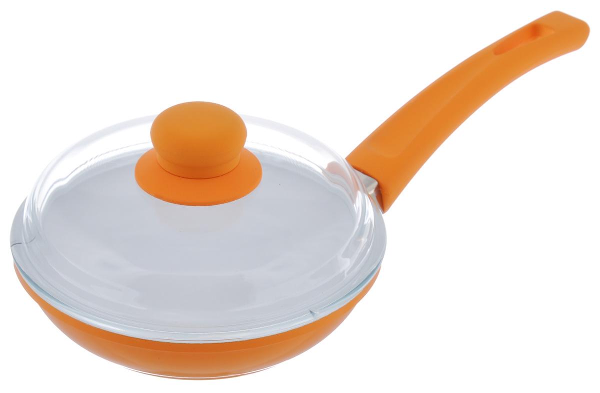 Сковорода BartonSteel с крышкой, с керамическим покрытием, цвет: оранжевый. Диаметр 18 см7018BS/NEW_оранжевыйСковорода BartonSteel изготовлена из высококачественного алюминия. Внутреннее керамическое покрытие абсолютно безопасно для здоровья человека и окружающей среды. Кроме того, с таким покрытием пища не пригорает и не прилипает к стенкам. Готовить можно с минимальным количеством подсолнечного масла. Сковорода быстро разогревается, распределяя тепло по всей поверхности, что позволяет готовить в энергосберегающем режиме, значительно сокращая время, проведенное у плиты. Сковорода оснащена удобной ручкой, выполненной из бакелита с силиконовым покрытием. Такая ручка не нагревается в процессе готовки и обеспечивает надежный хват. Крышка изготовлена из жаропрочного стекла. Благодаря такой крышке можно следить за приготовлением пищи без потери тепла. Подходит для всех типов плит, включая индукционные. Можно мыть в посудомоечной машине. Диаметр сковороды: 18 см.Высота стенки: 4,5 см. Толщина стенки: 4 мм. Толщина дна: 4 мм.Длина ручки: 19 см.