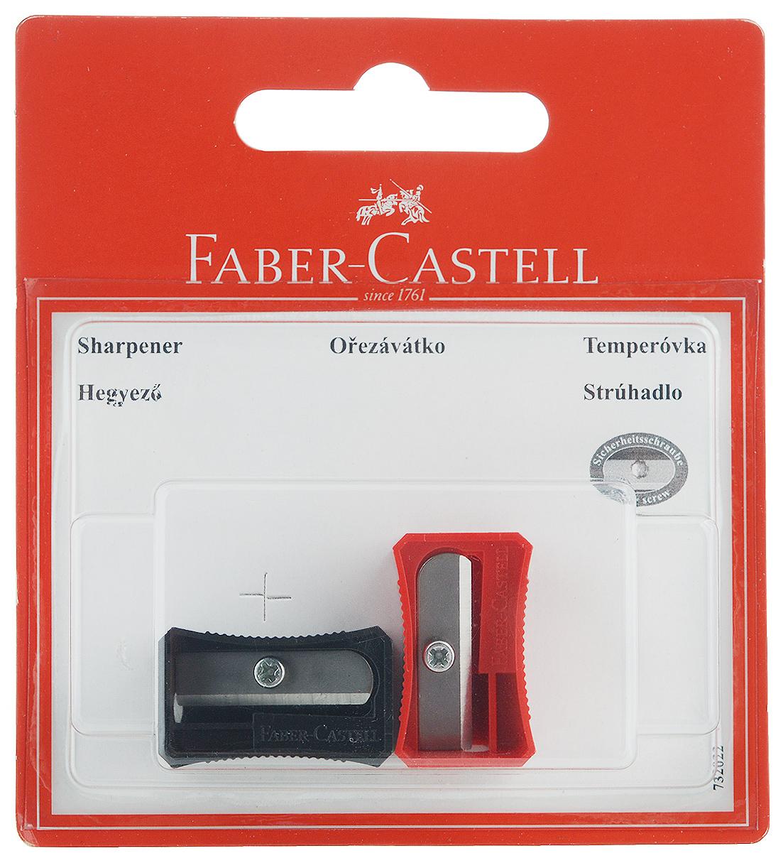 Faber-Castell Точилка цвет черный красный 2 шт263221_черный, красныйНабор точилок Faber-Castell предназначен для затачивания классических простых и цветных карандашей. В наборе две точилки из прочного пластика с рифленой областью захвата. Острые стальные лезвия обеспечивают высококачественную и точную заточку деревянных карандашей.