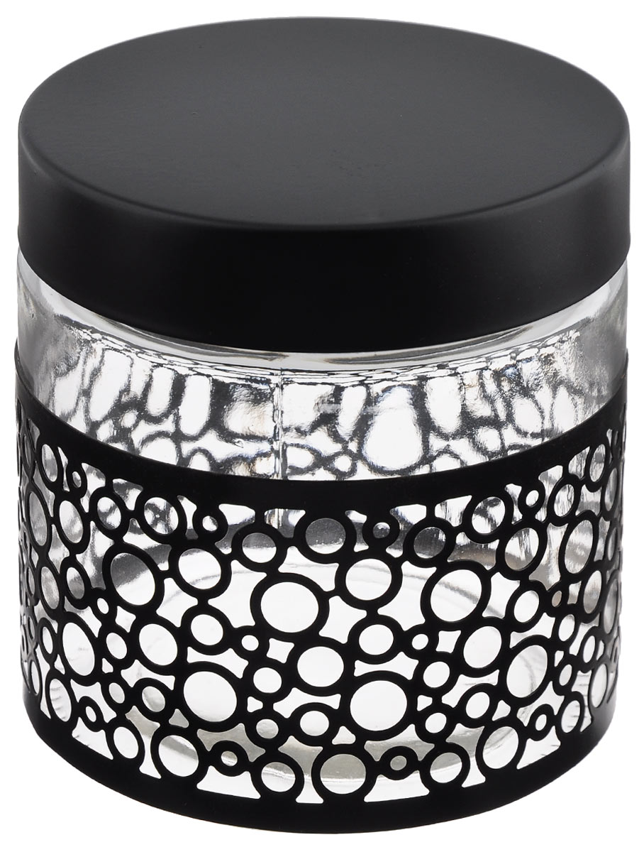 Банка для сыпучих продуктов Bohmann Орнамент, цвет: прозрачный, черный, 850 мл емкость для хранения сыпучих продуктов с крышкой 10x7 5 см berghoff studio 1106373