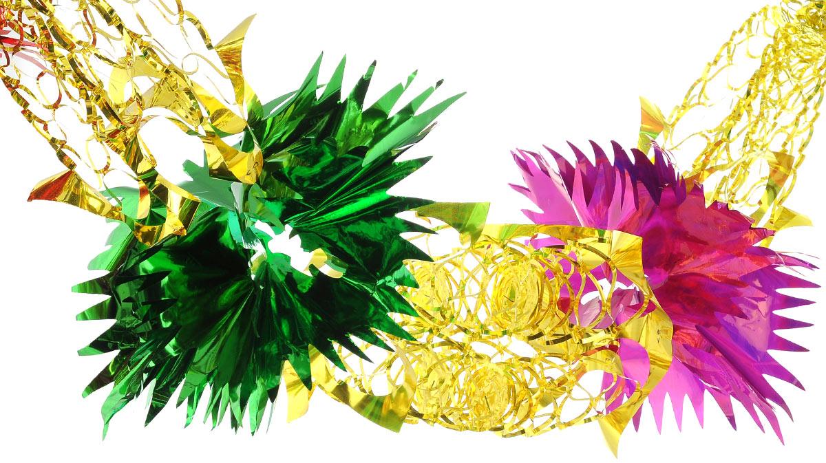 Гирлянда новогодняя EuroHouse, цвет: зеленый, красный, желтый, длина 2,4 мЕХ 9158Новогодняя гирлянда EuroHouse состоит из основной части и фигурок с рваными краями. Прекрасно подойдет для декора дома или офиса. Украшение, выполненное из ПЭТ (полиэтилентерефталата), легко складывается и раскладывается. Новогодние украшения несут в себе волшебство и красоту праздника. Они помогут вам украсить дом к предстоящим праздникам и оживить интерьер по вашему вкусу. Создайте в доме атмосферу тепла, веселья и радости, украшая его всей семьей.Размер фигурки (в сложенном виде): 25 см х 25 см.