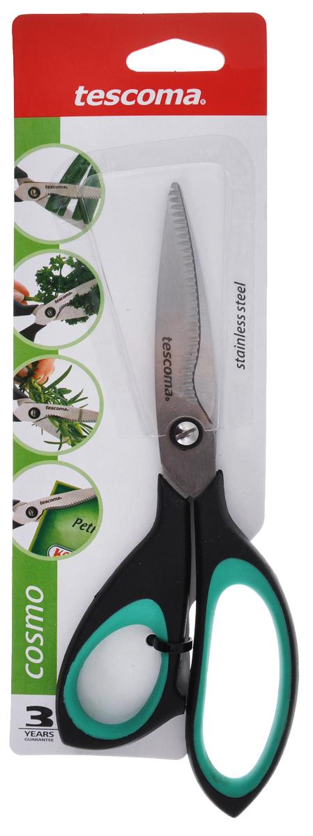 Ножницы для зелени Tescoma Cosmo, цвет: зеленый, черный, длина 22 см888420_зеленый, черныйНожницы Tescoma Cosmo предназначены для резки трав и зелени, например: петрушки, укропа, зеленого лука. Также ножницы пригодны для резки всех обычных материалов - бумаги, ткани и многого другого. Лезвия изготовлены из первоклассной нержавеющей стали. Комфортные ручки ножниц выполнены из прочного пластика с противоскользящей обработкой для безопасного использования. Ножницы Tescoma Cosmo это универсальный помощник в вашем доме!Дина лезвия: 8 см.Длина ножниц: 22 см.