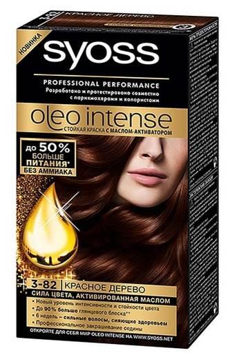 Syoss Краска для волос Oleo Intense, 3-82. Красное дерево93935005Краска для волос Syoss Oleo Intense - первая стойкая крем-маска на основе масла-активатора, без аммиака и со 100% чистыми маслами - для высокой интенсивности и стойкости цвета, профессионального закрашивания седины и до 90% больше блеска.Насыщенная формула крем-масла наносится без подтеков. 100% чистые масла работают как усилитель цвета: технология Oleo Intense использует силу и свойство масел максимизировать действие красителя. Абсолютно без аммиака, для оптимального комфорта кожи головы.Одновременно краска обеспечивает экстра-восстановление волос питательными маслами, делая волосы до 40% более мягкими. Волосы выглядят здоровыми и сильными 6 недель. Характеристики: Номер краски: 3-82. Цвет: красное дерево. Степень стойкости: 3 (обеспечивает стойкое окрашивание). Объем тюбика с окрашивающим кремом: 50 мл. Объем флакона-аппликатора с проявляющей эмульсией: 50 мл. Объем кондиционера: 15 мл. Производитель: Германия. В комплекте: 1 тюбик с ухаживающим окрашивающим кремом, 1 флакон-аппликатор с проявителем, 1 саше с кондиционером, 1 пара перчаток, инструкция по применению. Товар сертифицирован.ВНИМАНИЕ! Продукт может вызвать аллергическую реакцию, которая в редких случаях может нанести серьезный вред вашему здоровью. Проконсультируйтесь с врачом-специалистом передприменениемлюбых окрашивающих средств.