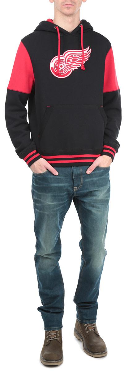 Толстовка мужская NHL Detroit Red Wings, цвет: черный, красный. 35320. Размер XL (52) - Хоккейные клубы