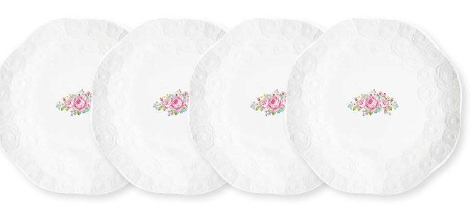 Набор десертных тарелок Nuova R2S Jardin de roses. Сад роз, диаметр 19 см, 4 шт набор тарелок r2s томат и моцарелла 4шт 20см фарфор