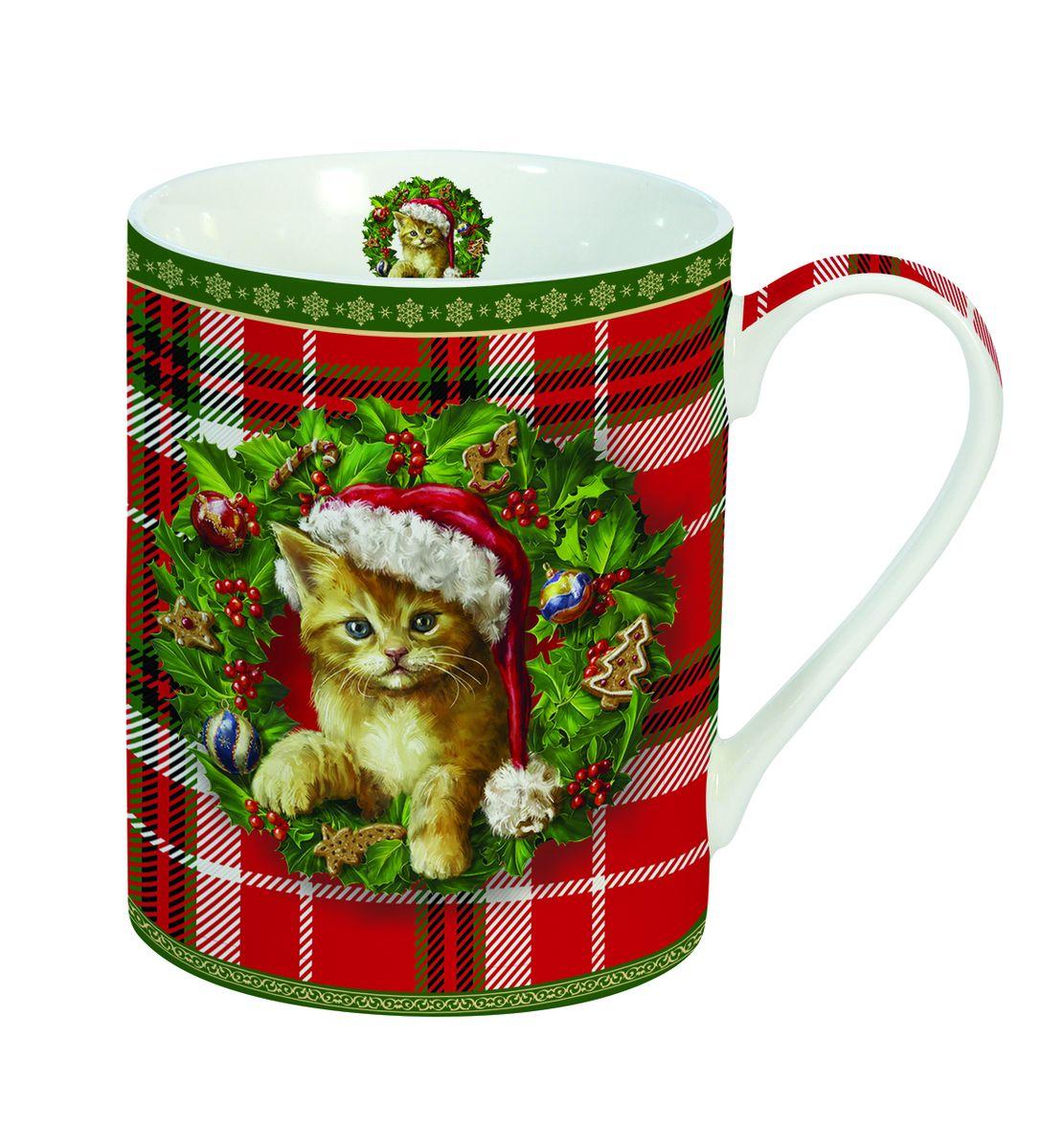 """Кружка Nuova R2S """"Новогодний котенок"""", изготовленная из высококачественного фарфора, оформлена ярким рисунком. Красочность  оформления придется по вкусу и ценителям классики, и тем, кто предпочитает утонченность и изысканность. Такая кружка - отличный вариант  новогоднего подарка для ваших близких и друзей."""