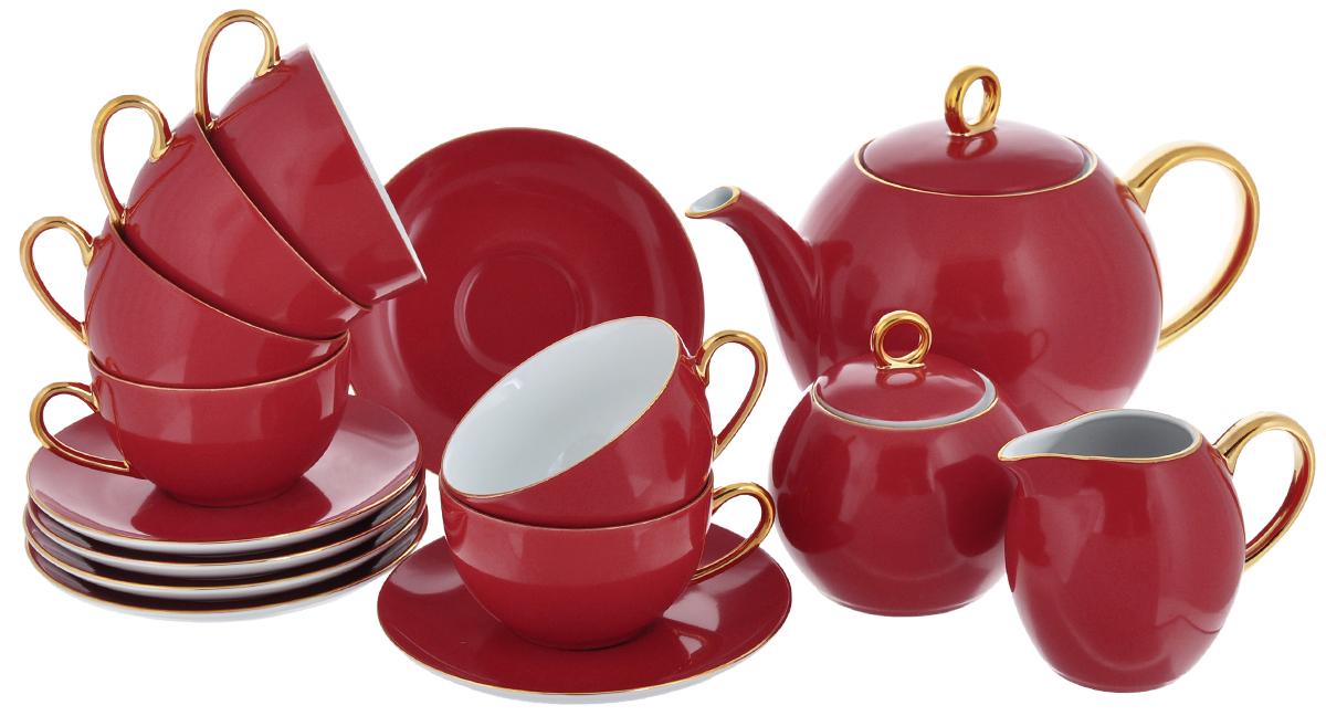 Сервиз чайный Yves De La Rosiere Monalisa, цвет: красный, золотистый, 15 предметов5595113125Сервиз чайный Yves De La Rosiere Monalisa состоит из 6 чашек, 6 блюдец, заварочного чайника, молочника и сахарницы с крышкой, изготовленных из фарфора. Изящный дизайн придется по вкусу и ценителям классики, и тем, кто предпочитает утонченность и изысканность. Он настроит на позитивный лад и подарит хорошее настроение с самого утра. Сервиз чайный - идеальный и необходимый подарок для вашего дома и для ваших друзей в праздники, юбилеи и торжества! Он также станет отличным корпоративным подарком и украшением любой кухни.Количество чашек: 6 шт. Диаметр чашек по верхнему краю: 9,2 см.Высота чашек: 5,5 см.Объем чашек: 210 мл.Количество блюдец: 6 шт.Диаметр блюдец: 15 см.Высота блюдец: 2 см.Высота сахарницы (без учета крышки): 7,5 см.Диаметр сахарницы по верхнему краю: 6,5 см. Объем сахарницы: 230 мл.Высота чайника (без учета крышки): 12,5 см.Диаметр чайника по верхнему краю: 9,2 см. Объем чайника: 1 л.Высота молочника: 8,5 см.Объем молочника: 230 мл. Размер молочника по верхнему краю (с учетом носика): 7 см х 4,5 см.