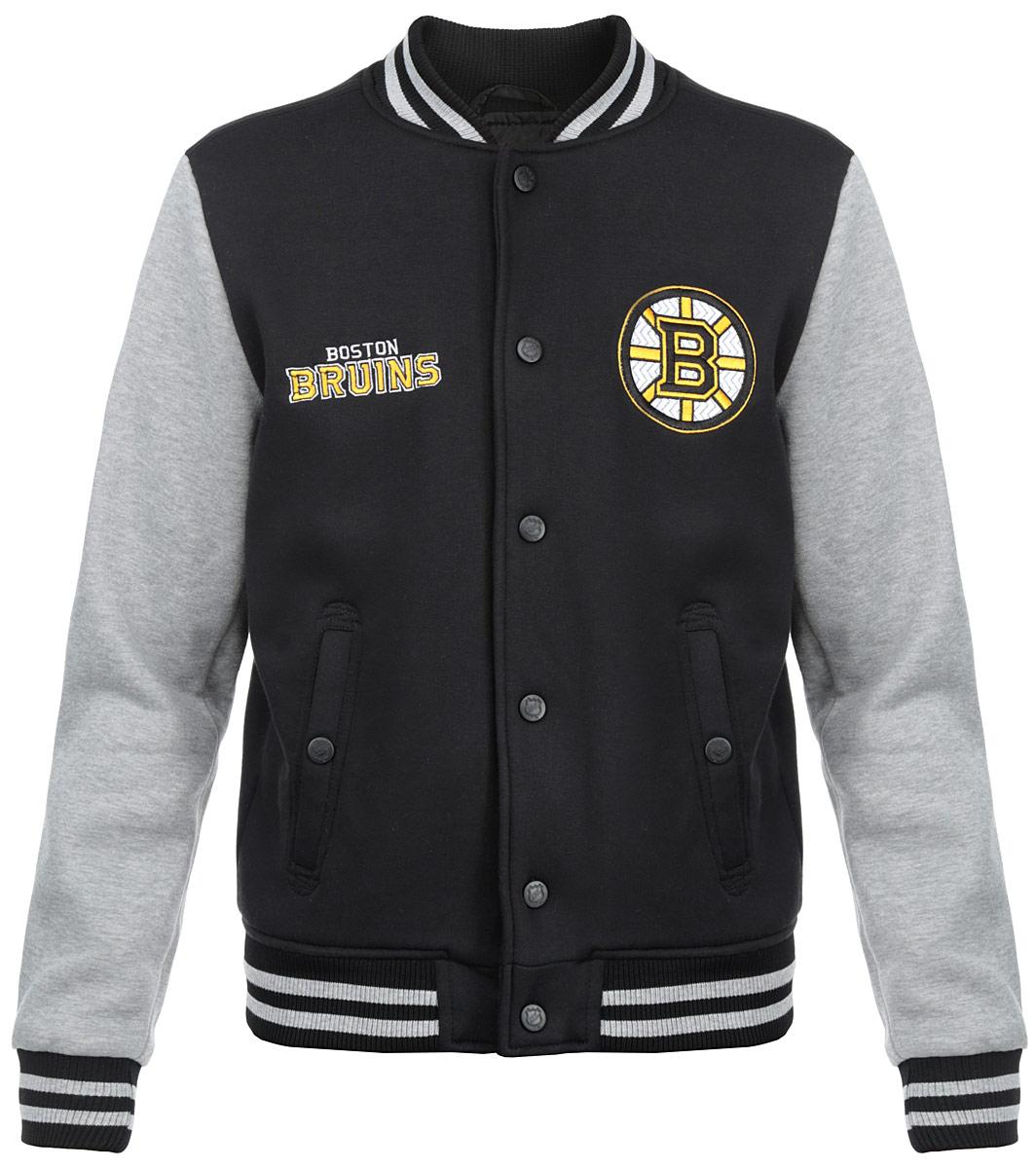 Куртка мужская NHL Boston Bruins, цвет:  черный, серый меланж.  57050.  Размер L (50) NHL