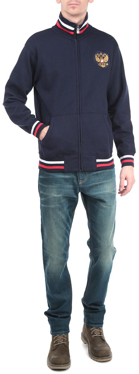 Толстовка мужская Россия, цвет: темно-синий. 150020. Размер S (46)